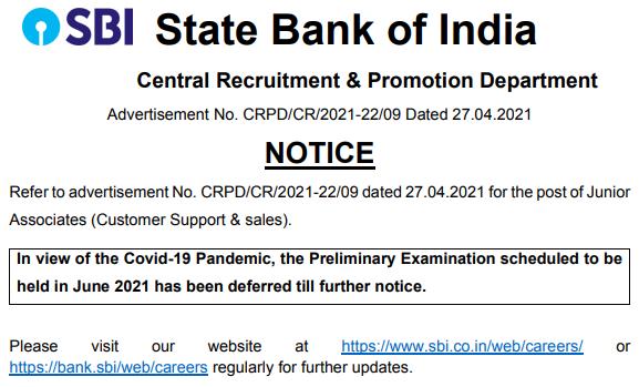 SBI Clerk Notification for Postponement of Prelims Exam