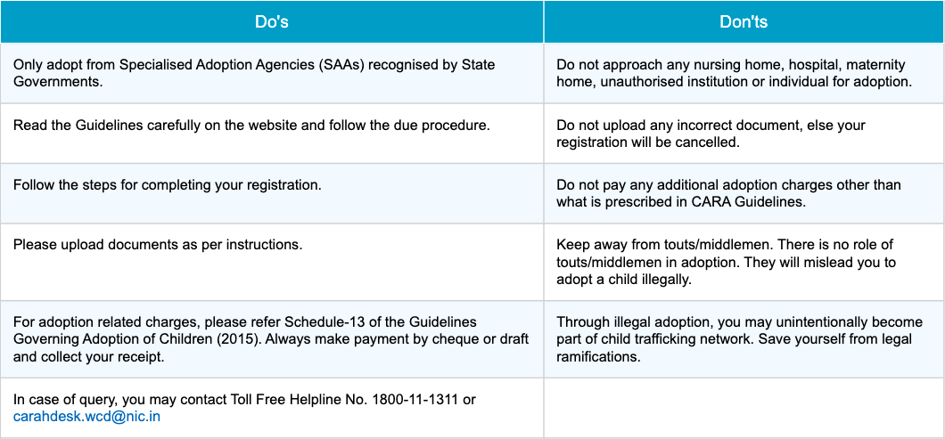 Do's and Don'ts of adoption in India