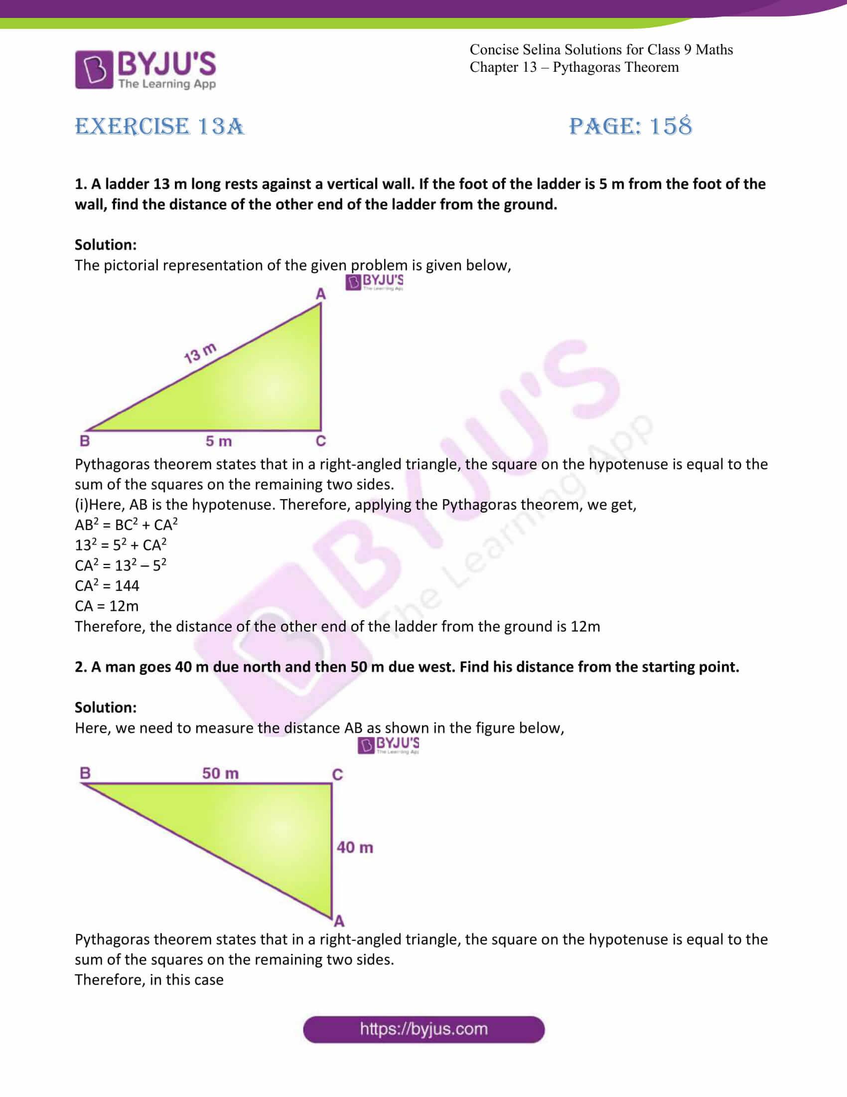 icse class 9 jun7 maths selina solutions chapter 13 pythagoras theorem 01