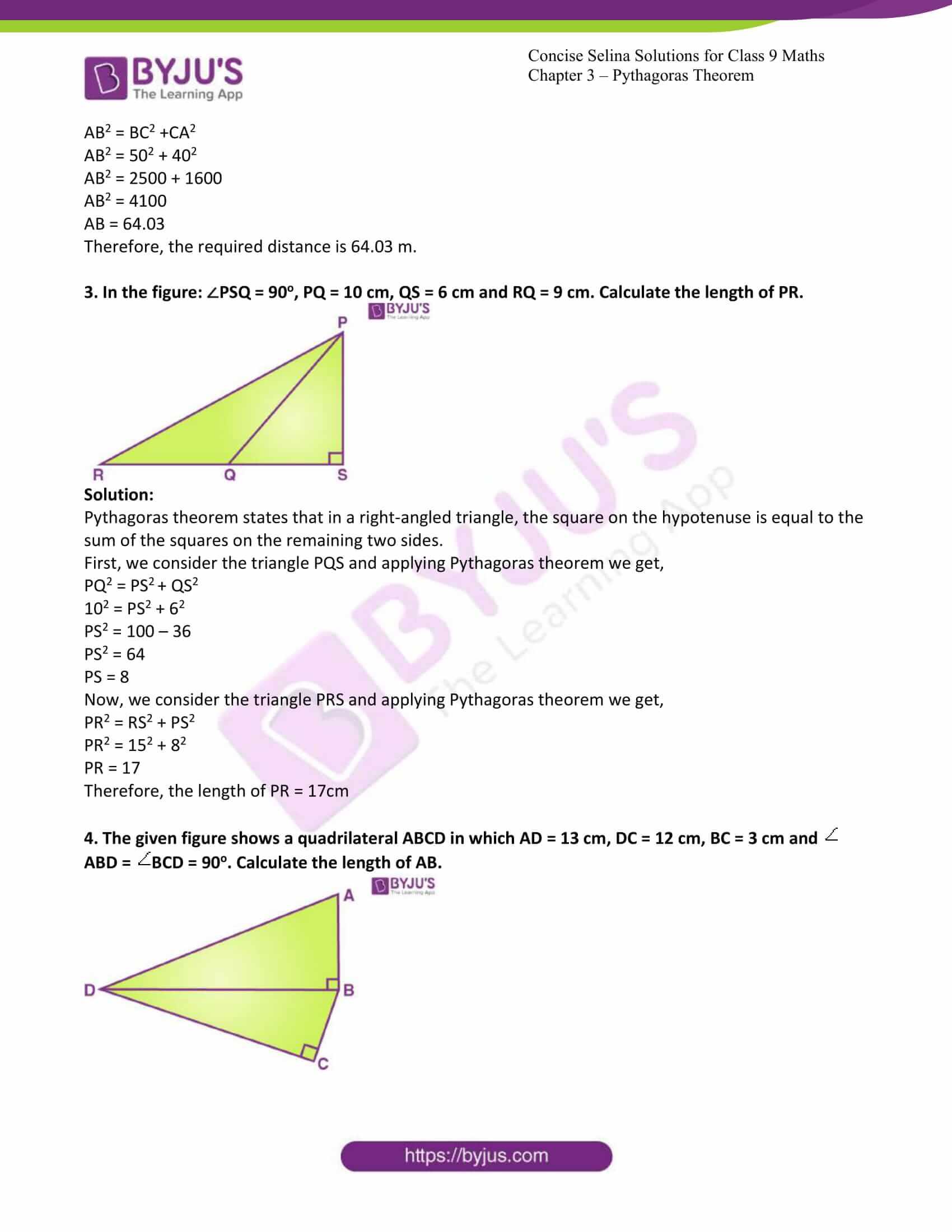 icse class 9 jun7 maths selina solutions chapter 13 pythagoras theorem 02