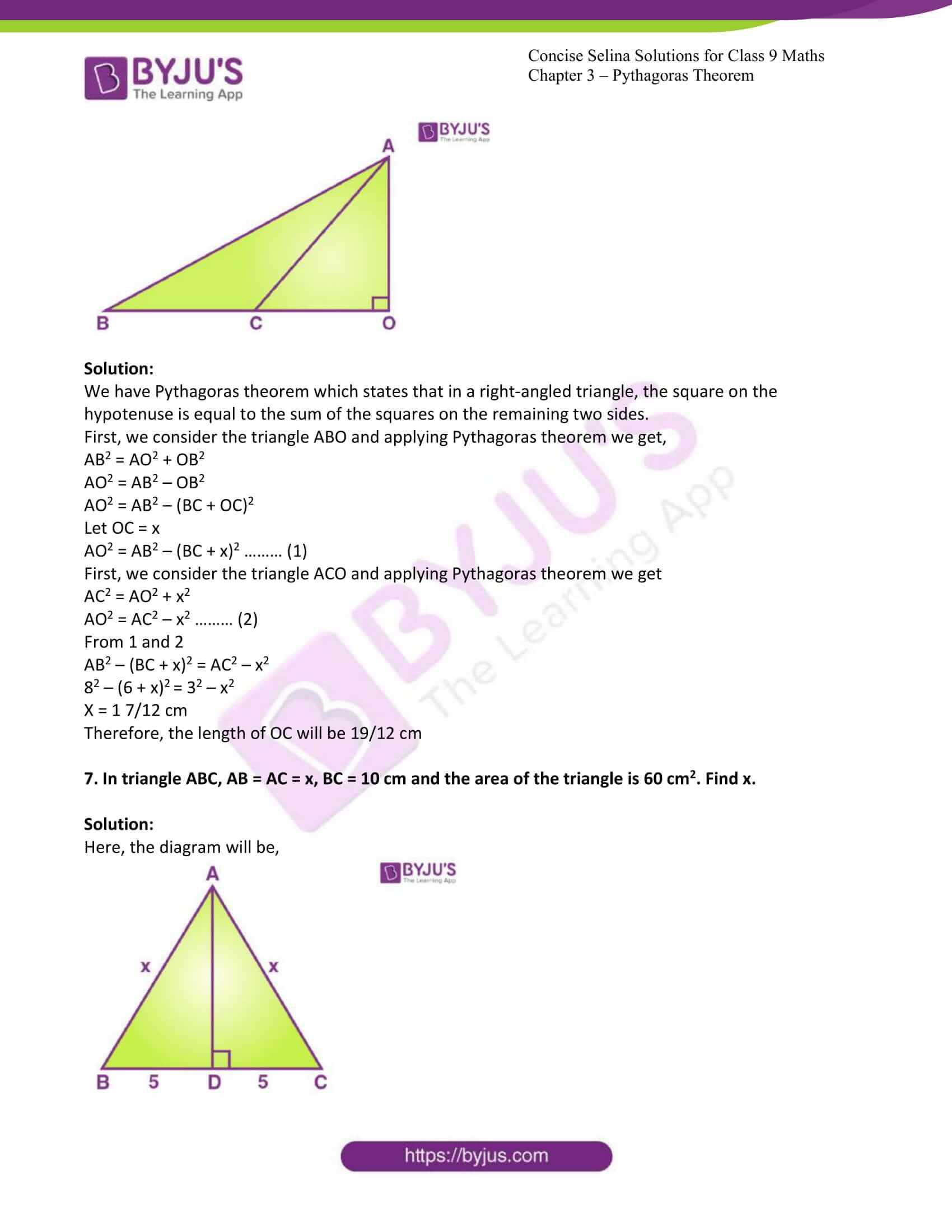 icse class 9 jun7 maths selina solutions chapter 13 pythagoras theorem 04