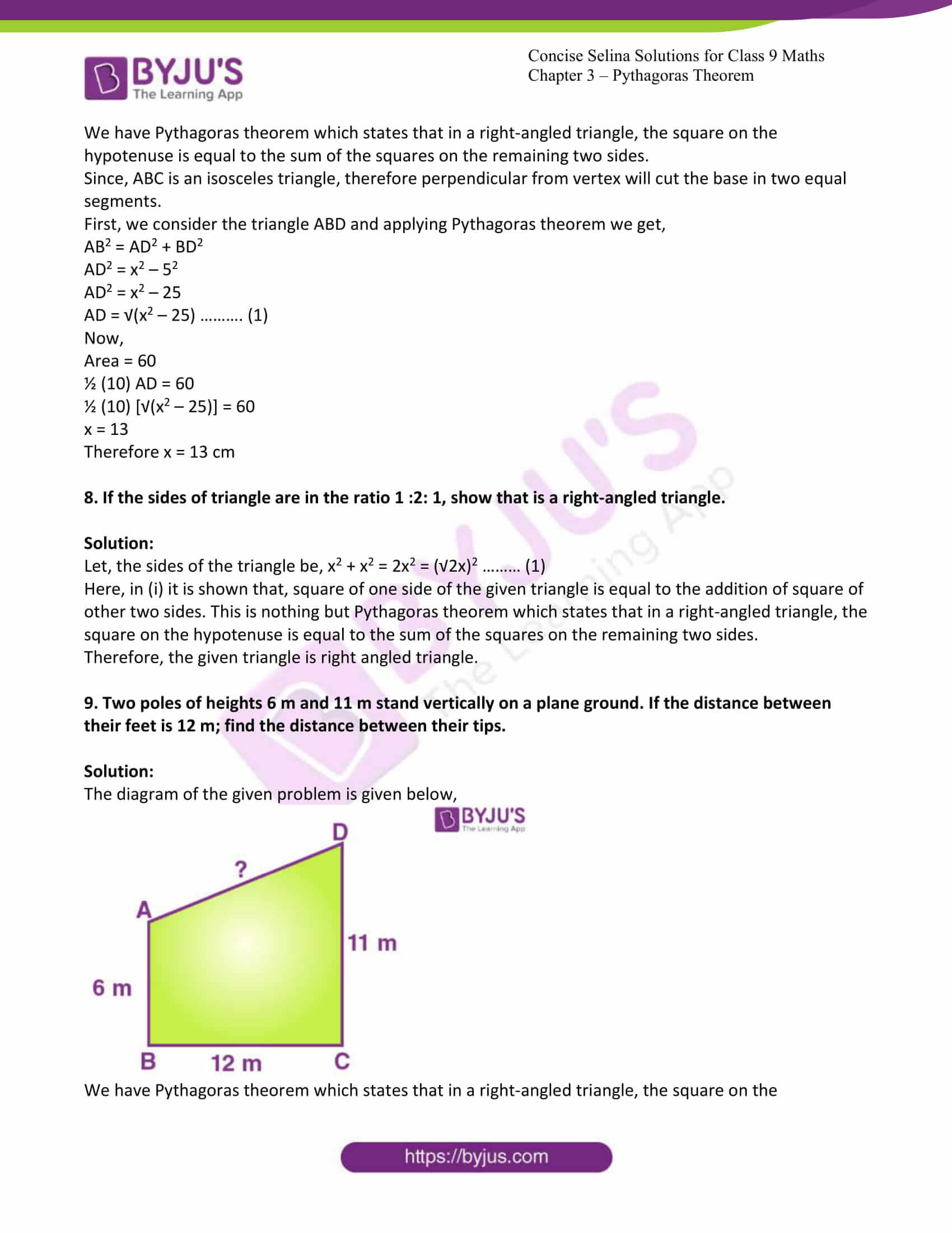 icse class 9 jun7 maths selina solutions chapter 13 pythagoras theorem 05