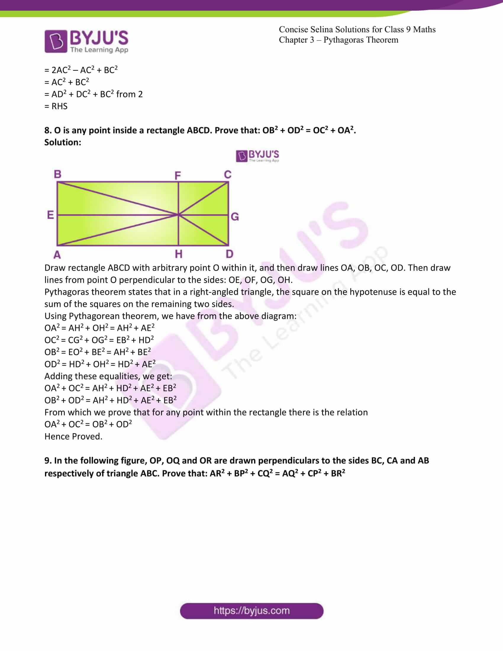 icse class 9 jun7 maths selina solutions chapter 13 pythagoras theorem 14