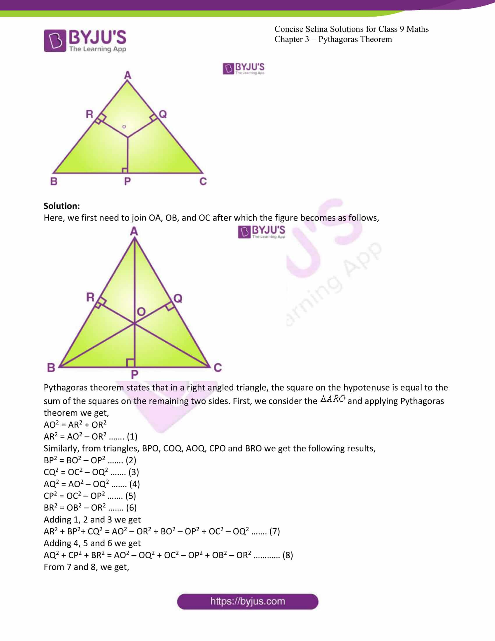 icse class 9 jun7 maths selina solutions chapter 13 pythagoras theorem 15