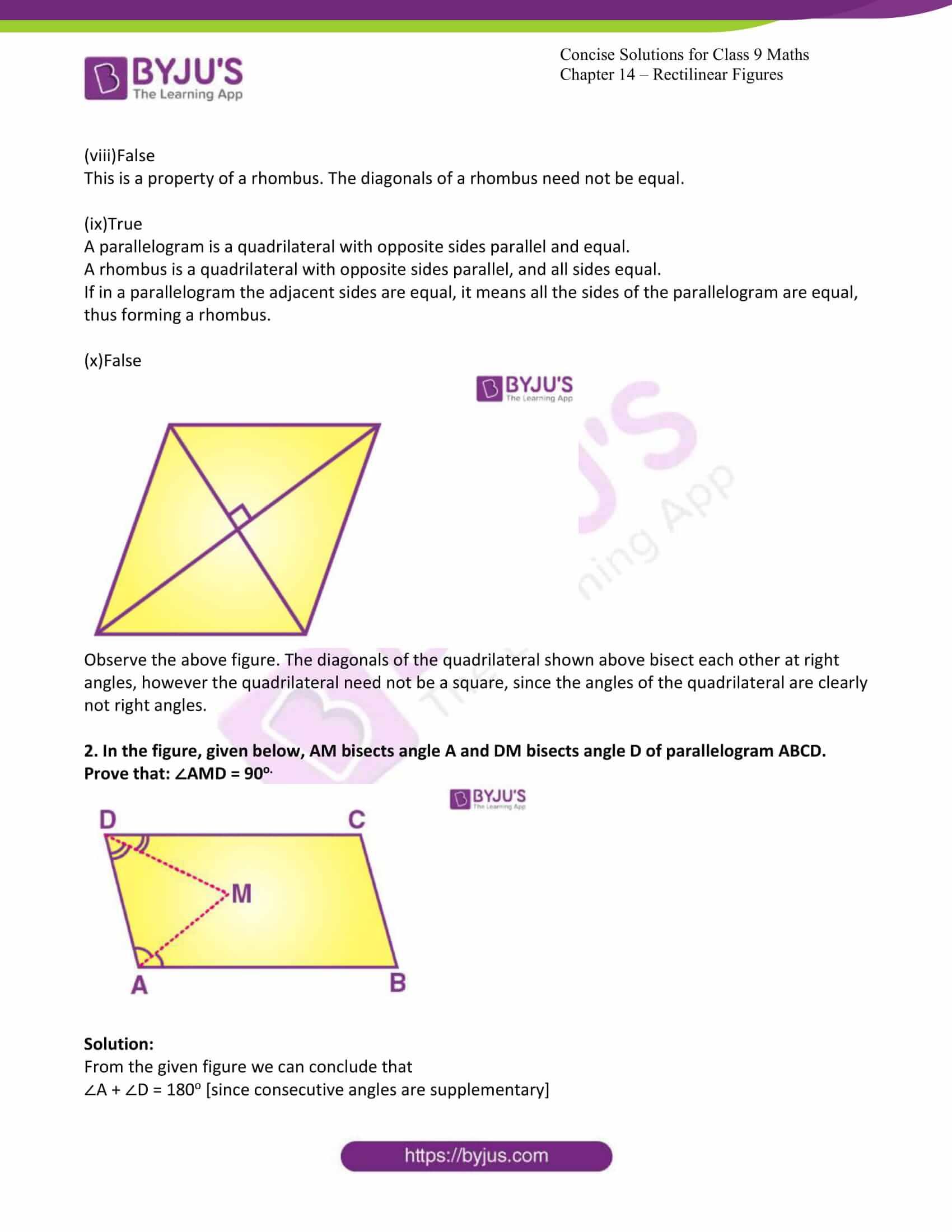 icse class 9 jun7 maths selina solutions chapter 14 rectilinear figures 07