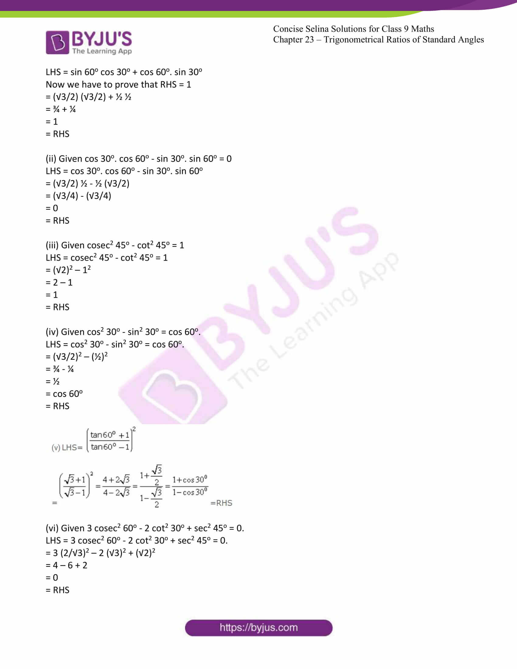 icse class 9 jun7 maths selina solutions chapter 23 trigonometrical ratios of standard angles 03