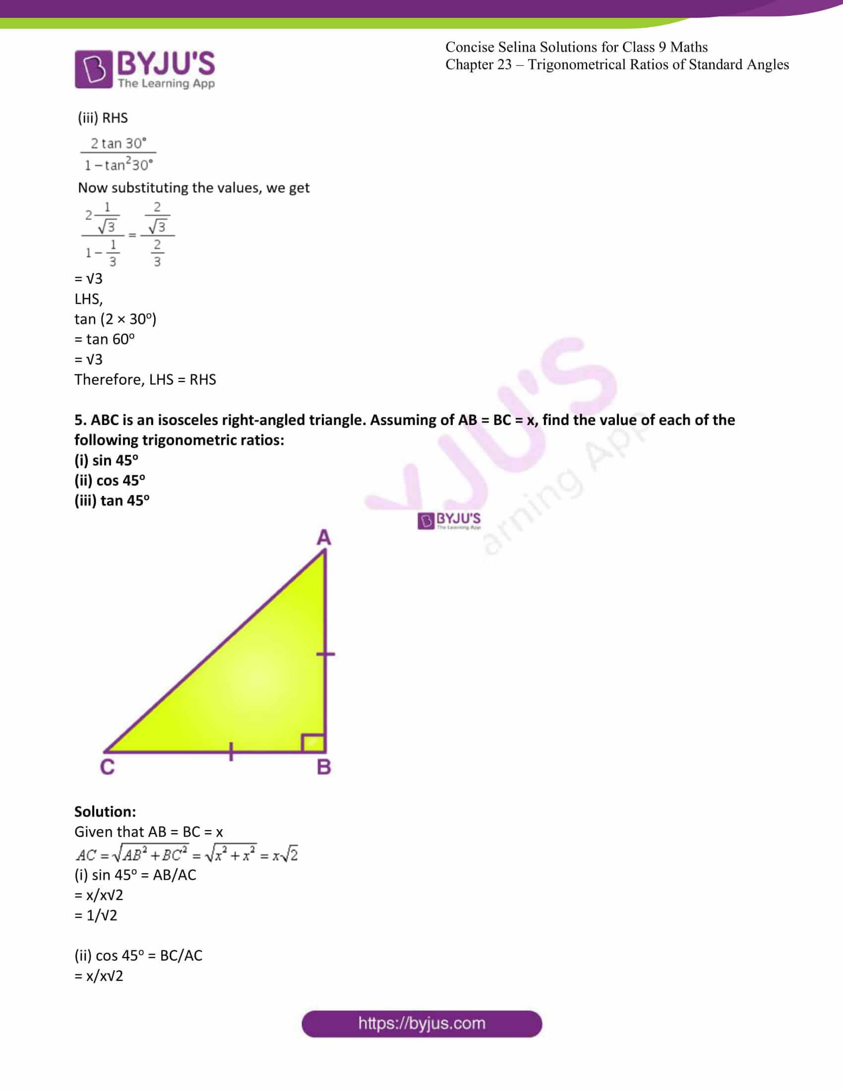 icse class 9 jun7 maths selina solutions chapter 23 trigonometrical ratios of standard angles 05