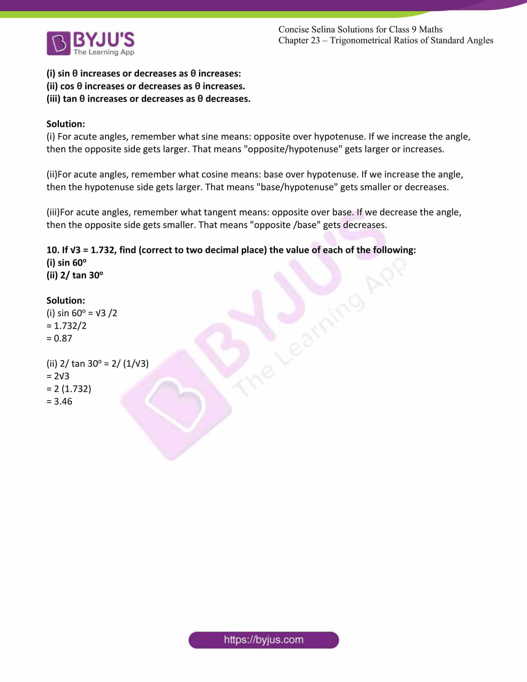 icse class 9 jun7 maths selina solutions chapter 23 trigonometrical ratios of standard angles 08
