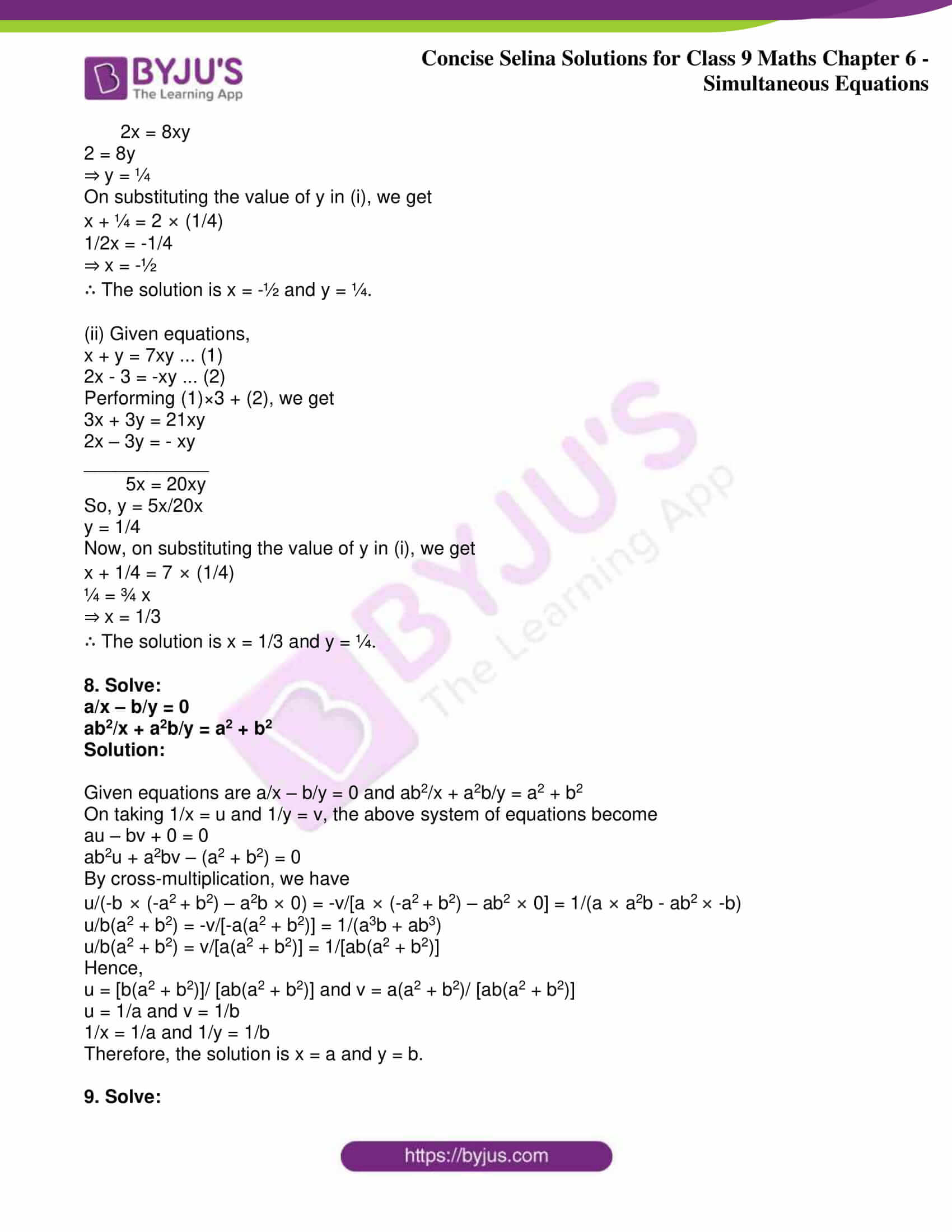icse class 9 jun7 maths selina solutions chapter 6 simultaneous equations 28