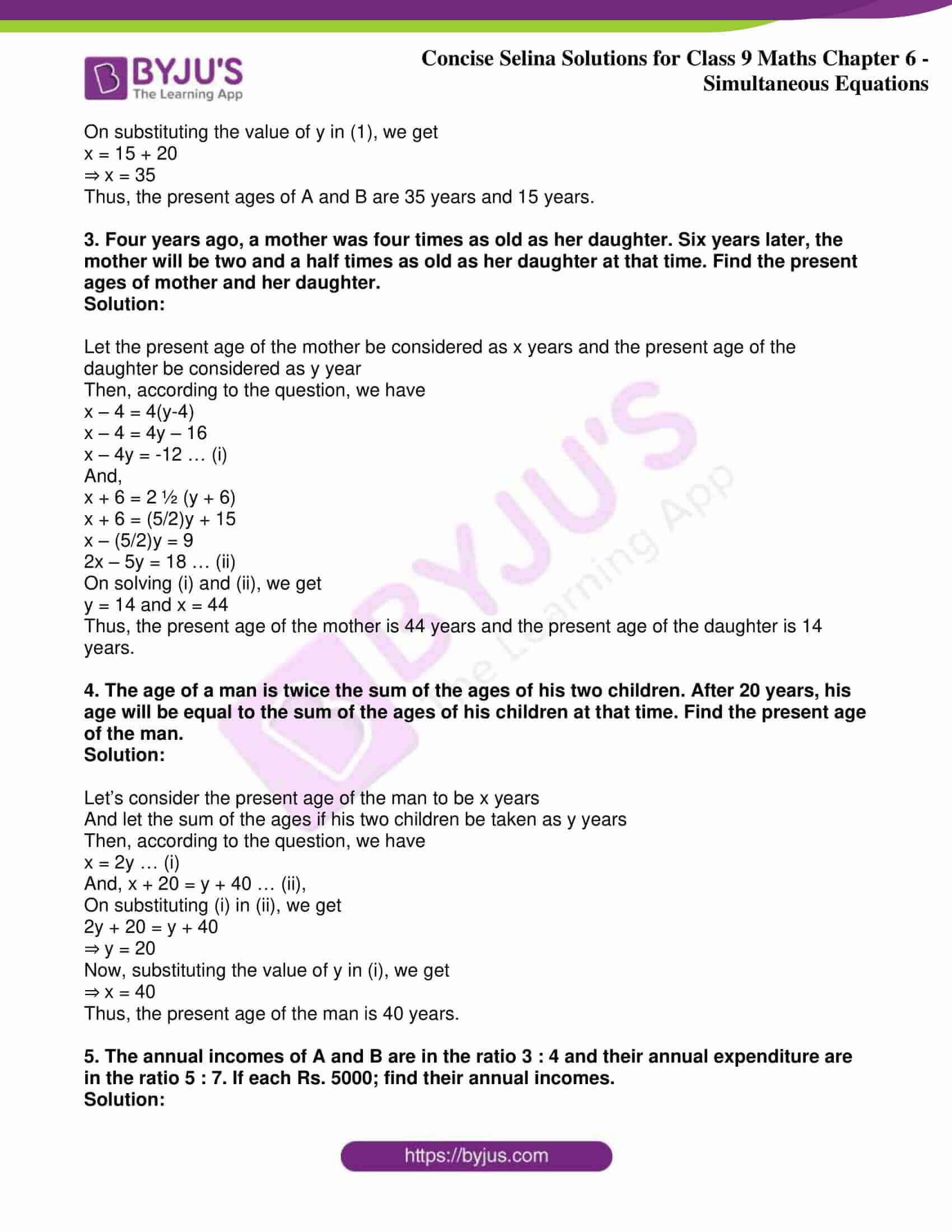 icse class 9 jun7 maths selina solutions chapter 6 simultaneous equations 41