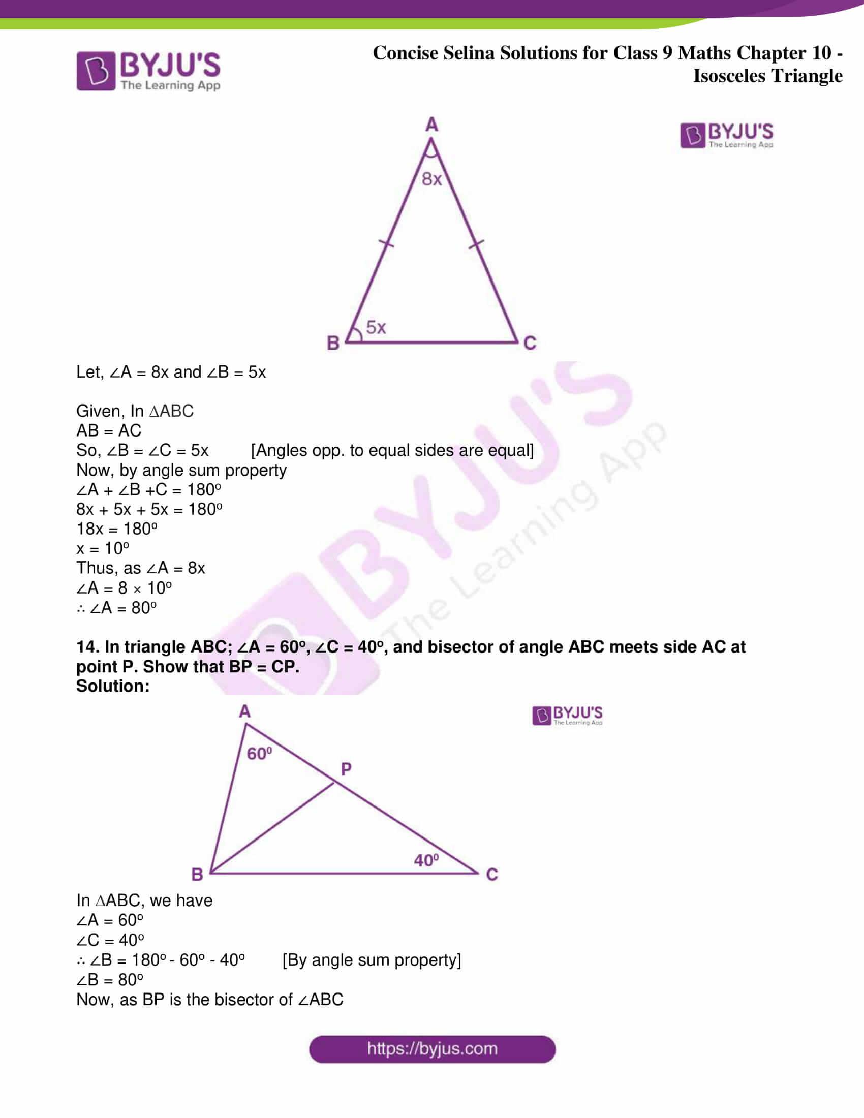 icse class 9 jun8 maths selina solutions chapter 10 isosceles triangles 13