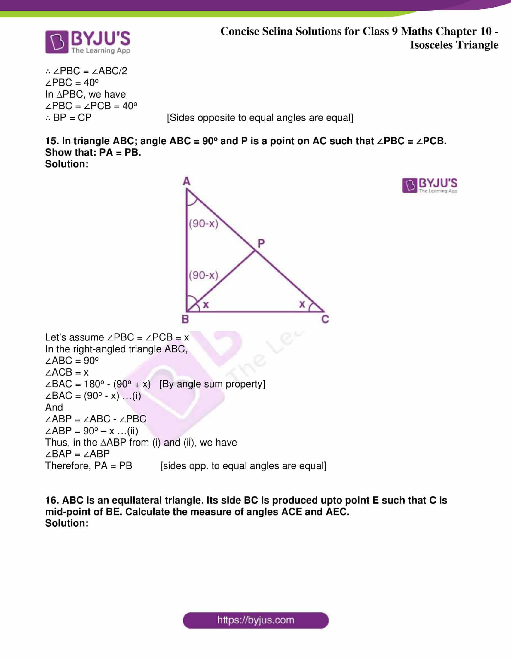 icse class 9 jun8 maths selina solutions chapter 10 isosceles triangles 14