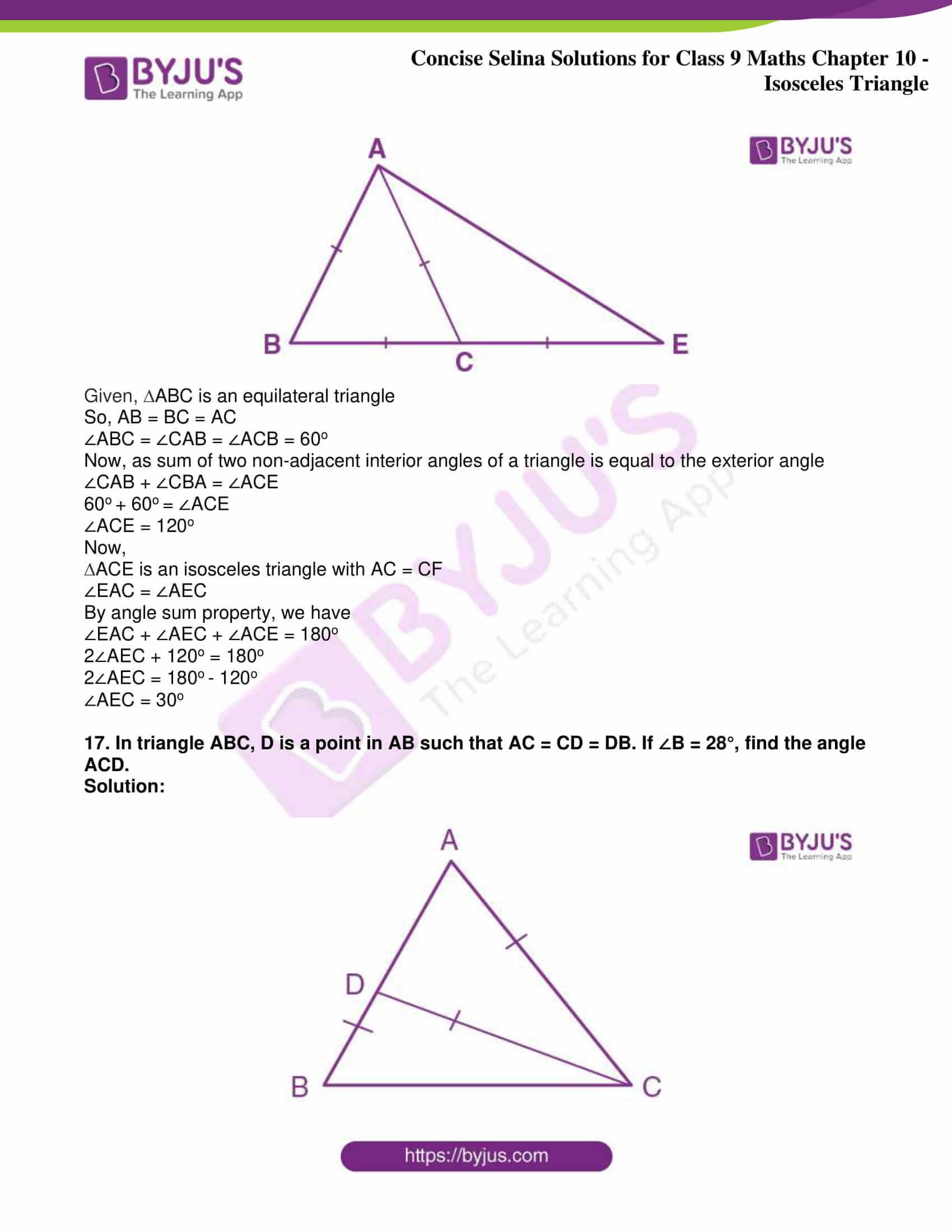 icse class 9 jun8 maths selina solutions chapter 10 isosceles triangles 15
