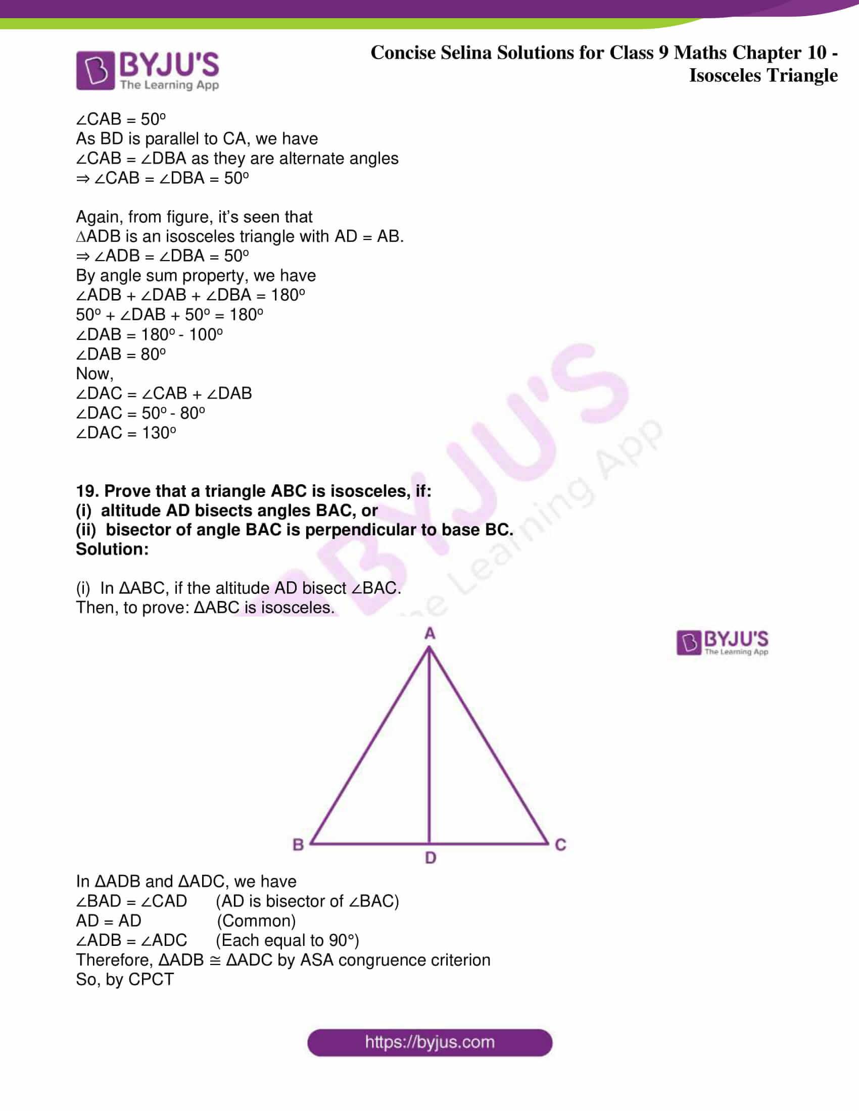 icse class 9 jun8 maths selina solutions chapter 10 isosceles triangles 17