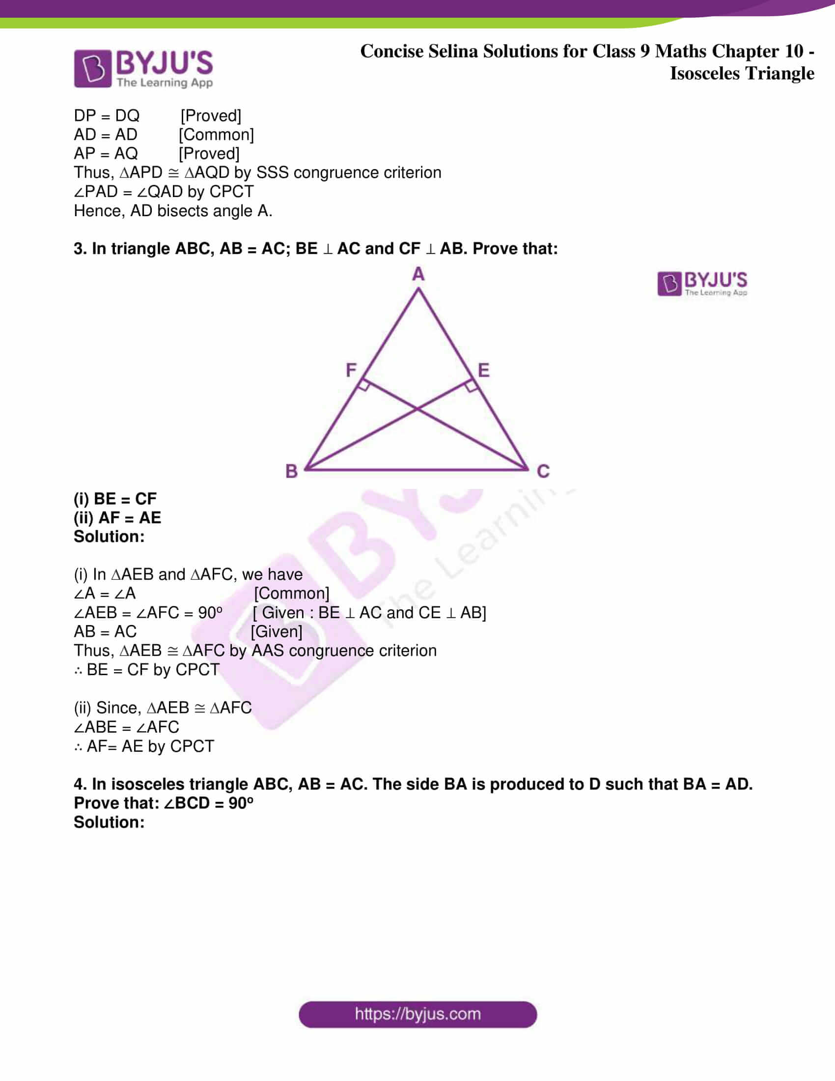 icse class 9 jun8 maths selina solutions chapter 10 isosceles triangles 22