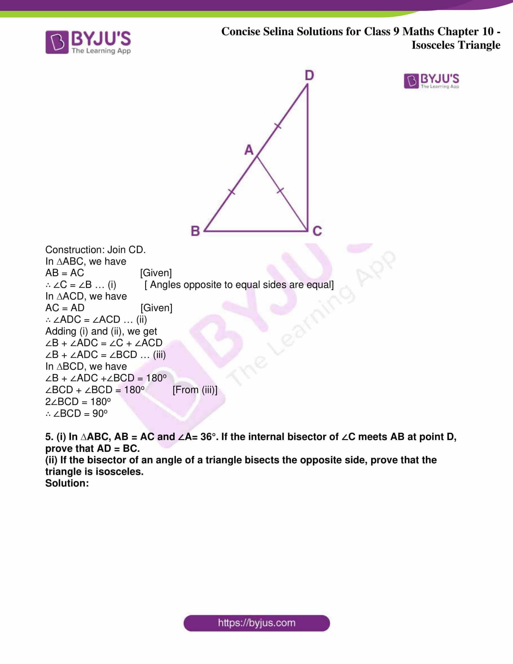 icse class 9 jun8 maths selina solutions chapter 10 isosceles triangles 23
