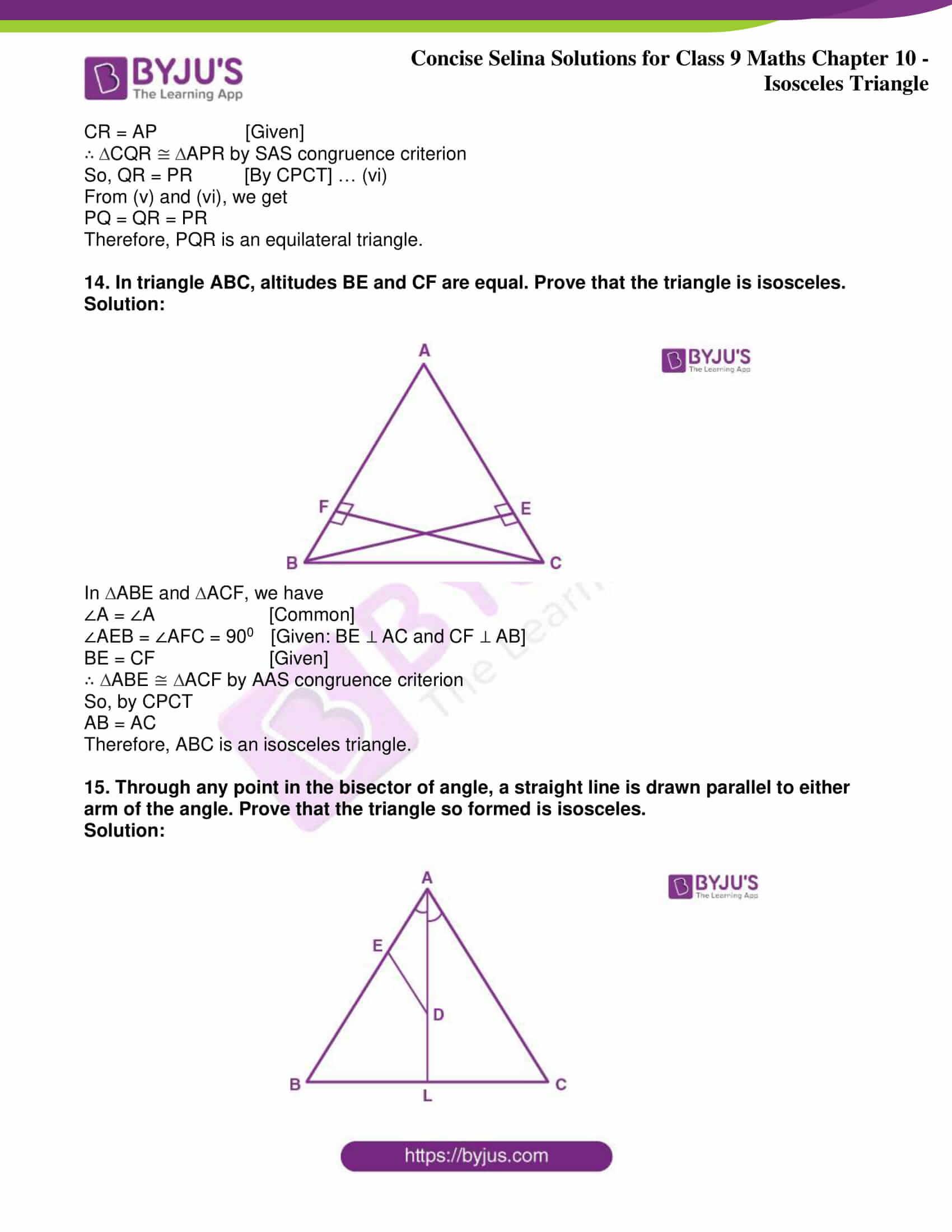 icse class 9 jun8 maths selina solutions chapter 10 isosceles triangles 31