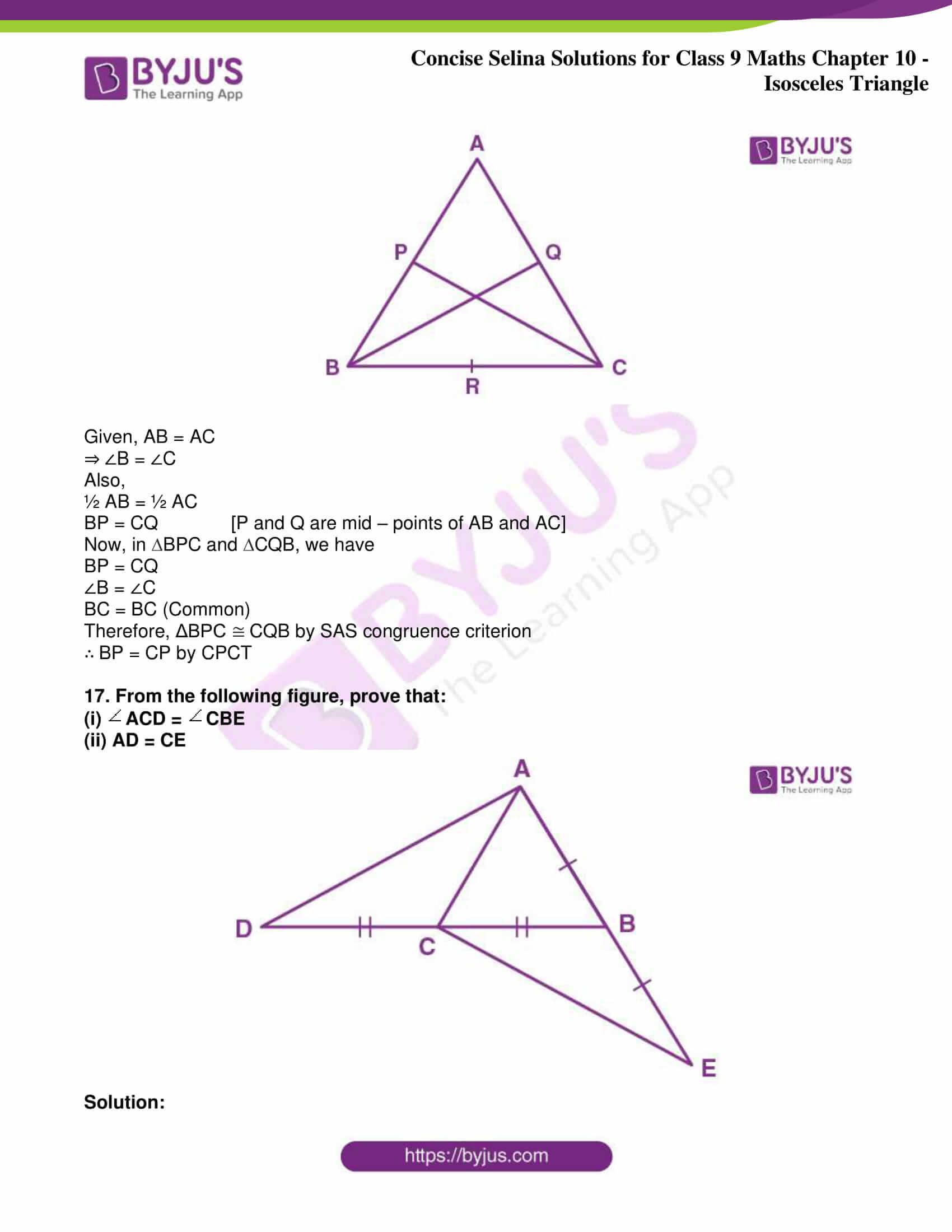 icse class 9 jun8 maths selina solutions chapter 10 isosceles triangles 33