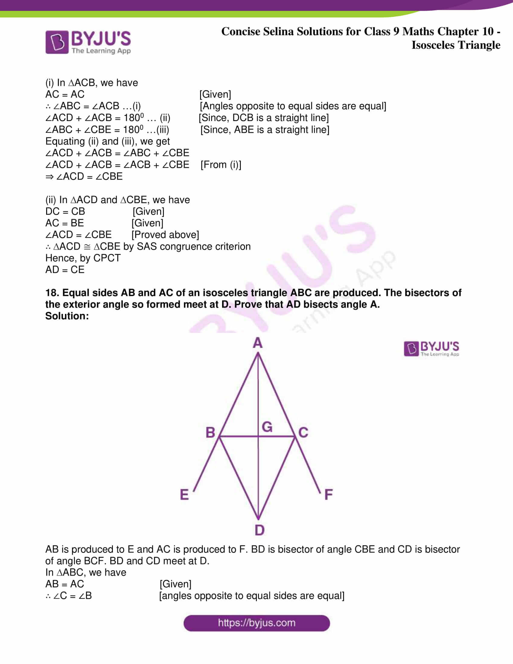 icse class 9 jun8 maths selina solutions chapter 10 isosceles triangles 34