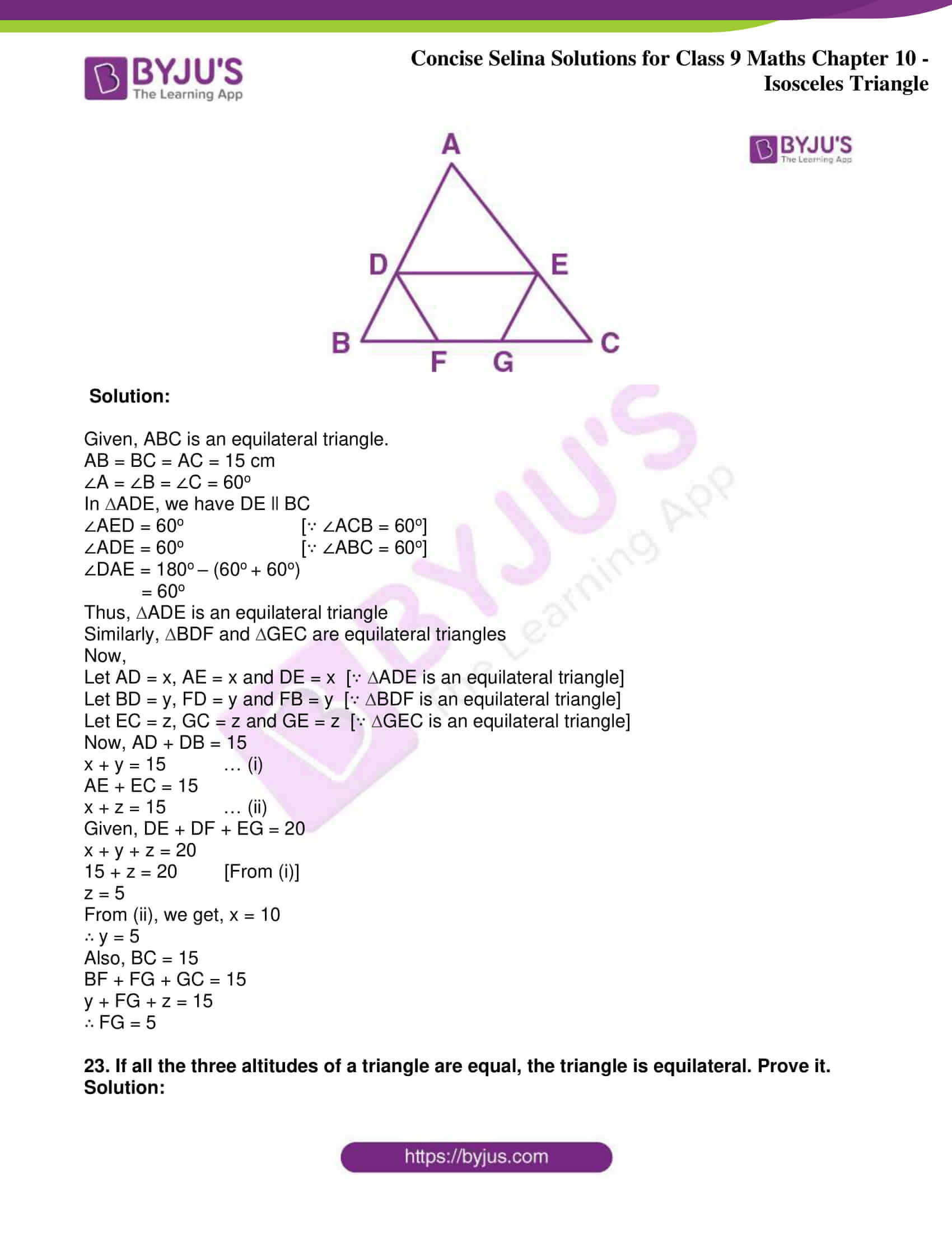 icse class 9 jun8 maths selina solutions chapter 10 isosceles triangles 38