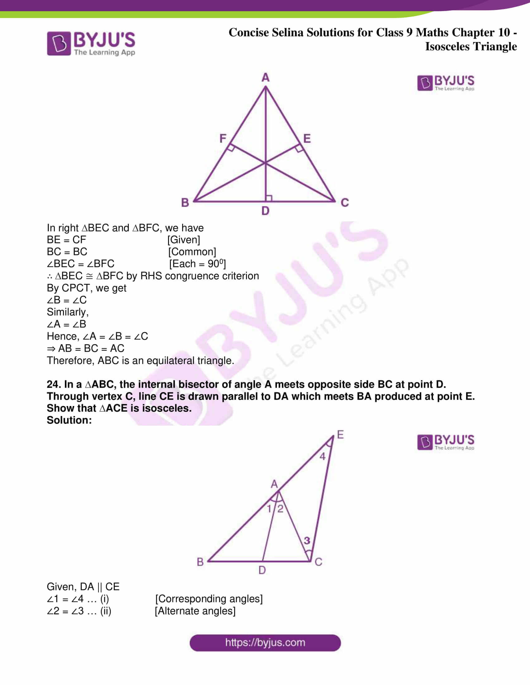 icse class 9 jun8 maths selina solutions chapter 10 isosceles triangles 39