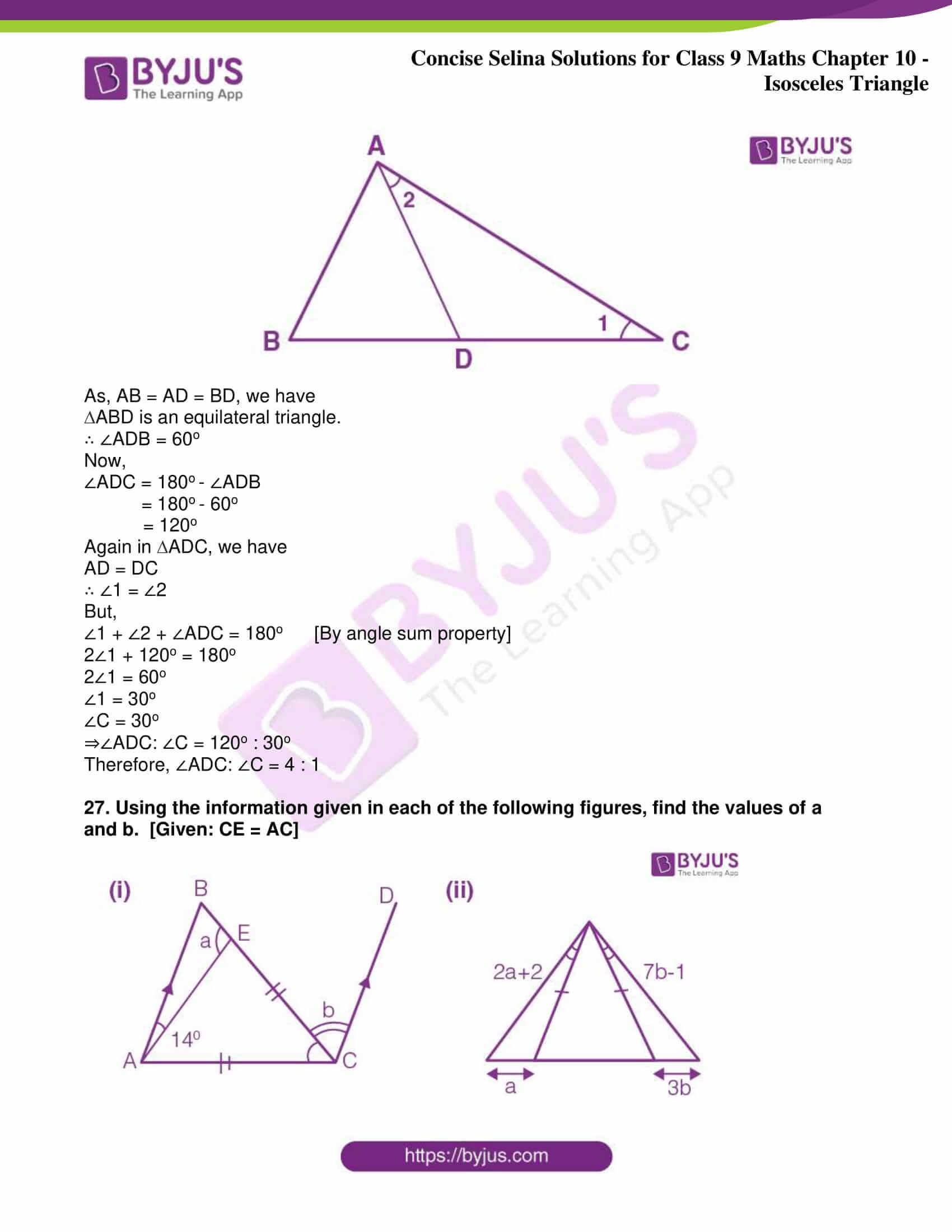 icse class 9 jun8 maths selina solutions chapter 10 isosceles triangles 41