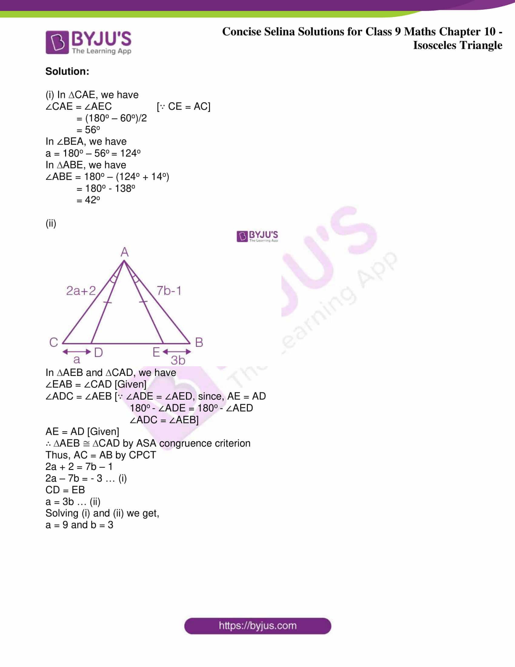 icse class 9 jun8 maths selina solutions chapter 10 isosceles triangles 42