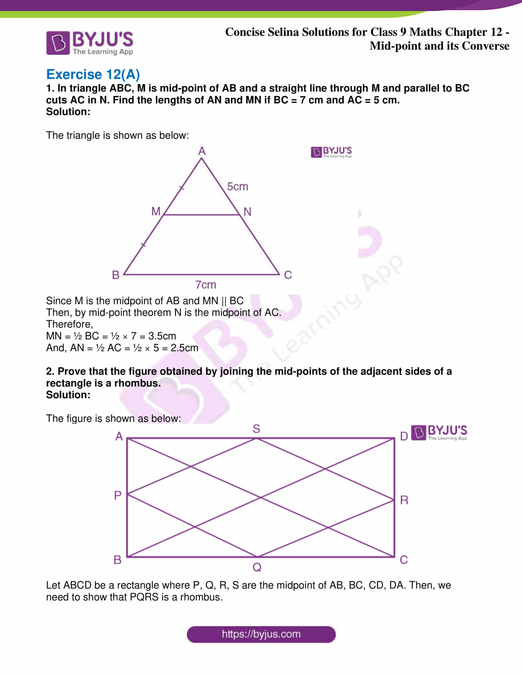icse class 9 jun8 maths selina solutions chapter 12 midpoint and its converse 01