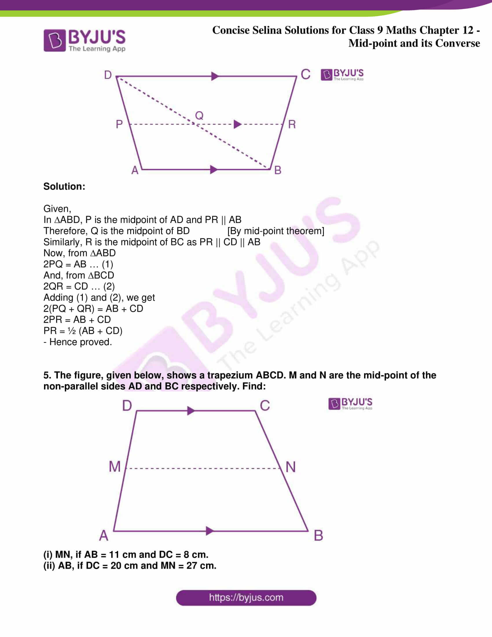 icse class 9 jun8 maths selina solutions chapter 12 midpoint and its converse 03