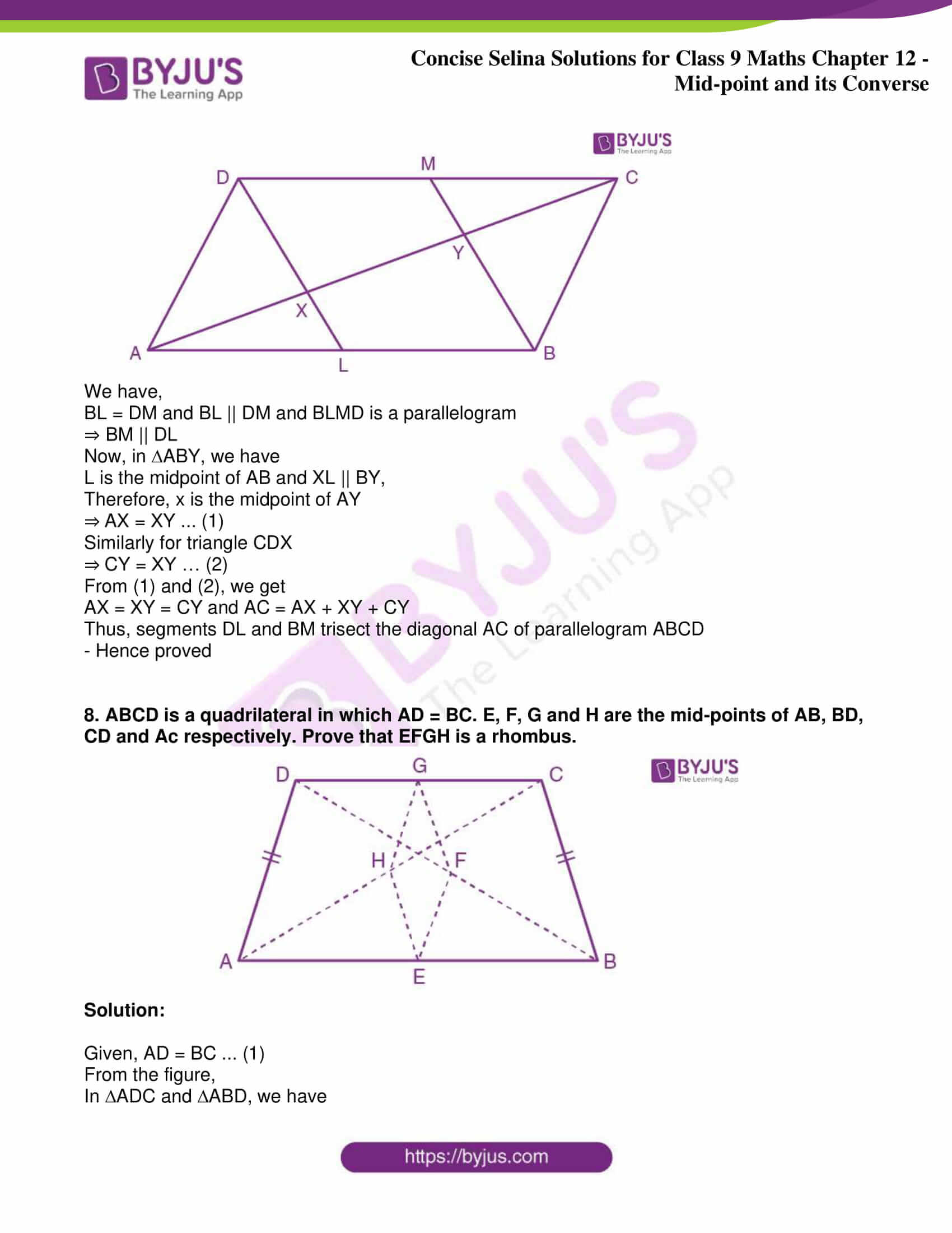 icse class 9 jun8 maths selina solutions chapter 12 midpoint and its converse 06