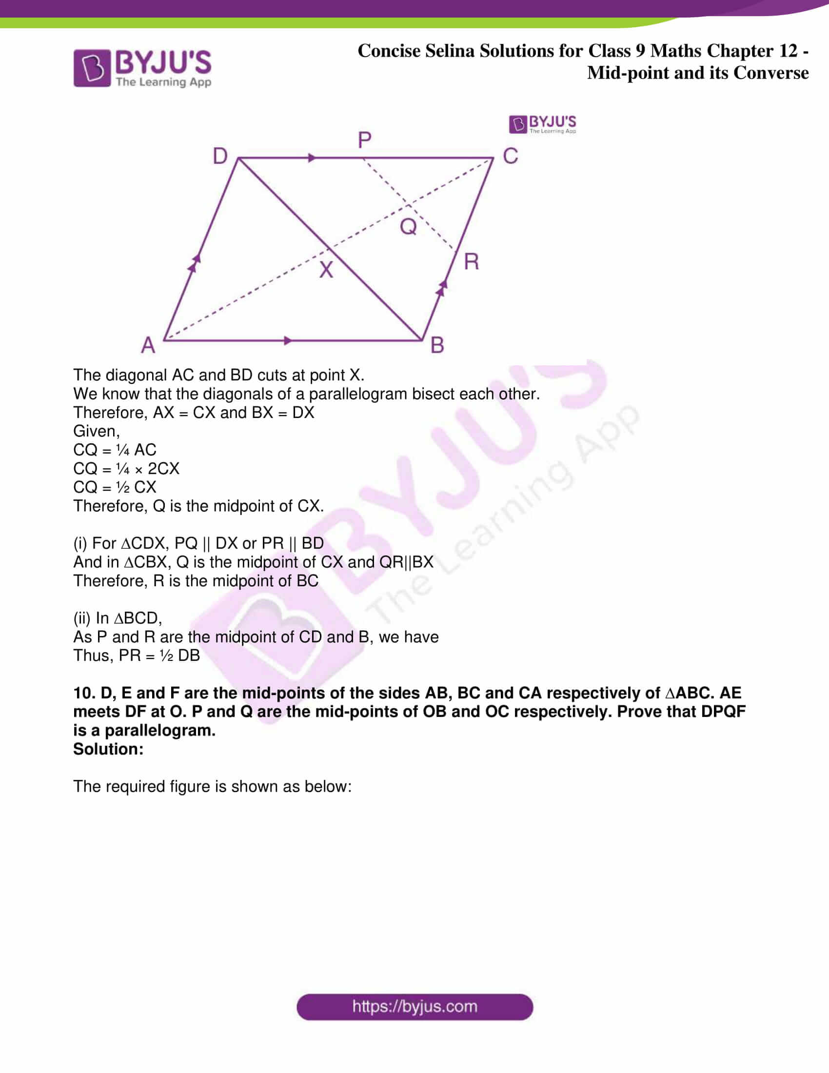 icse class 9 jun8 maths selina solutions chapter 12 midpoint and its converse 08