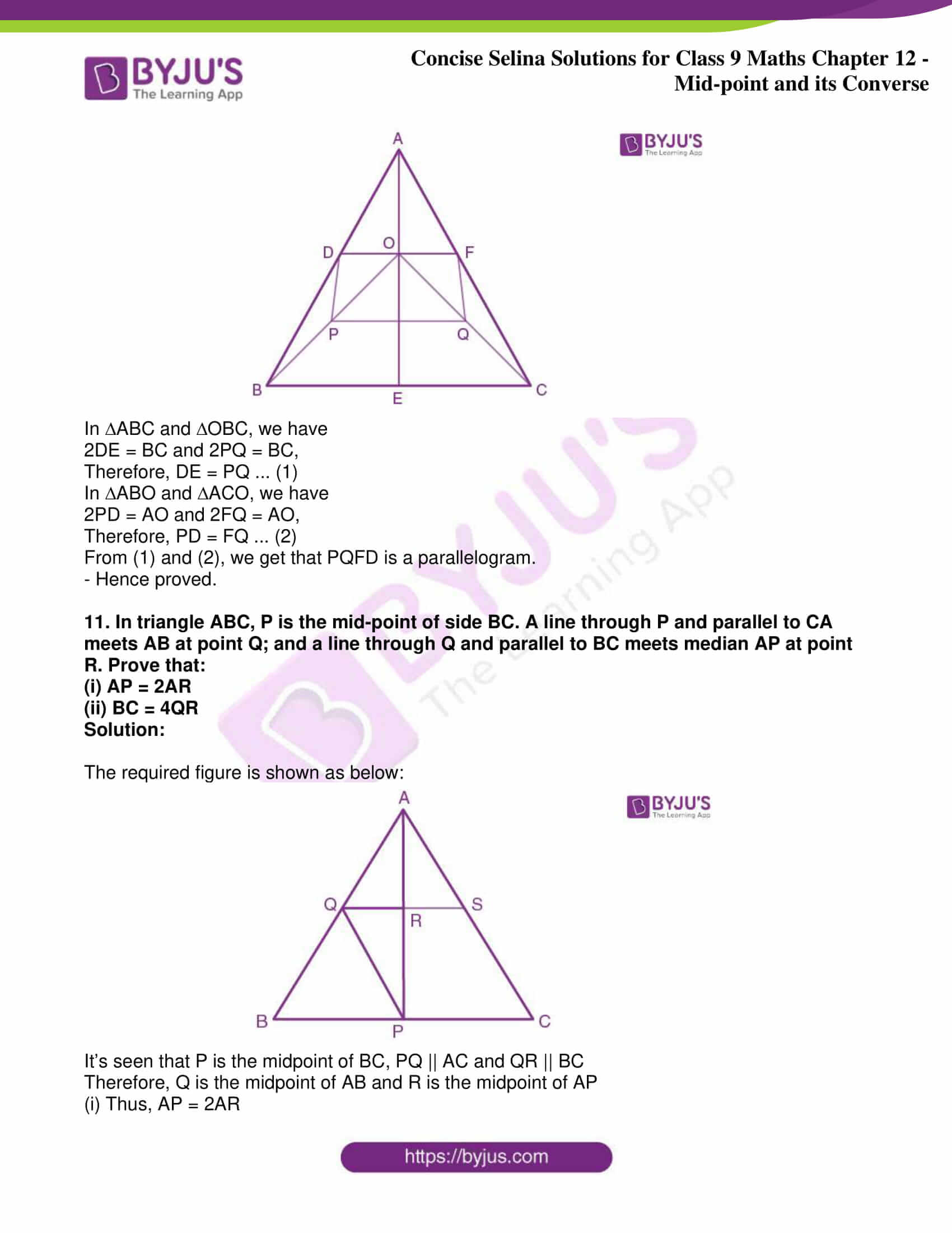 icse class 9 jun8 maths selina solutions chapter 12 midpoint and its converse 09