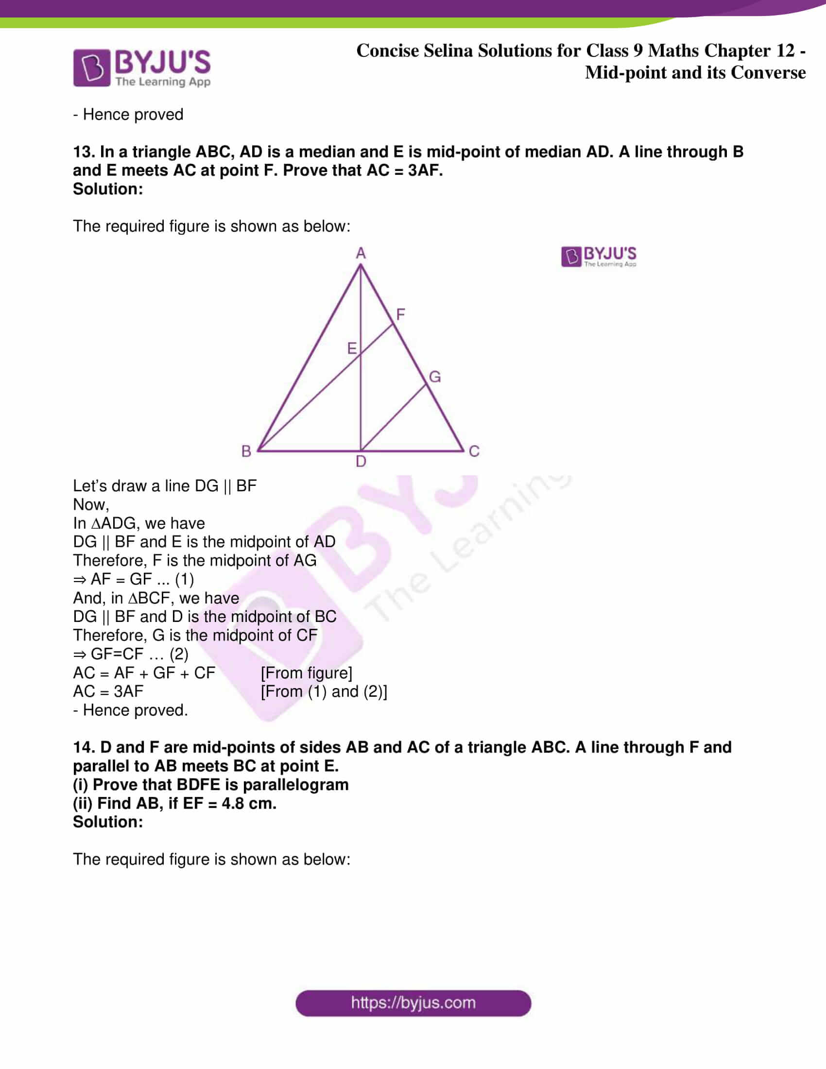 icse class 9 jun8 maths selina solutions chapter 12 midpoint and its converse 11