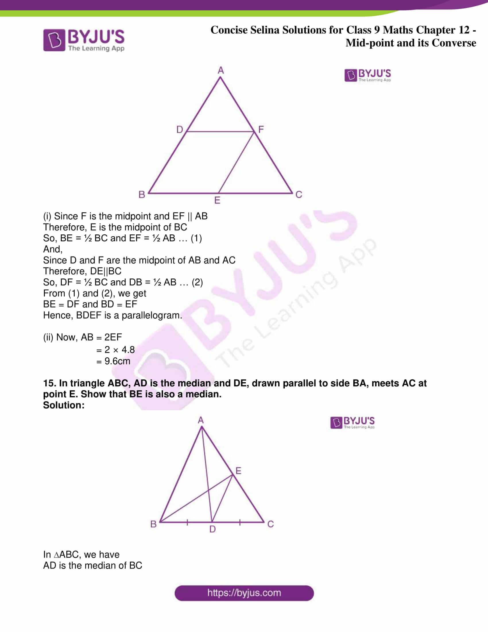icse class 9 jun8 maths selina solutions chapter 12 midpoint and its converse 12