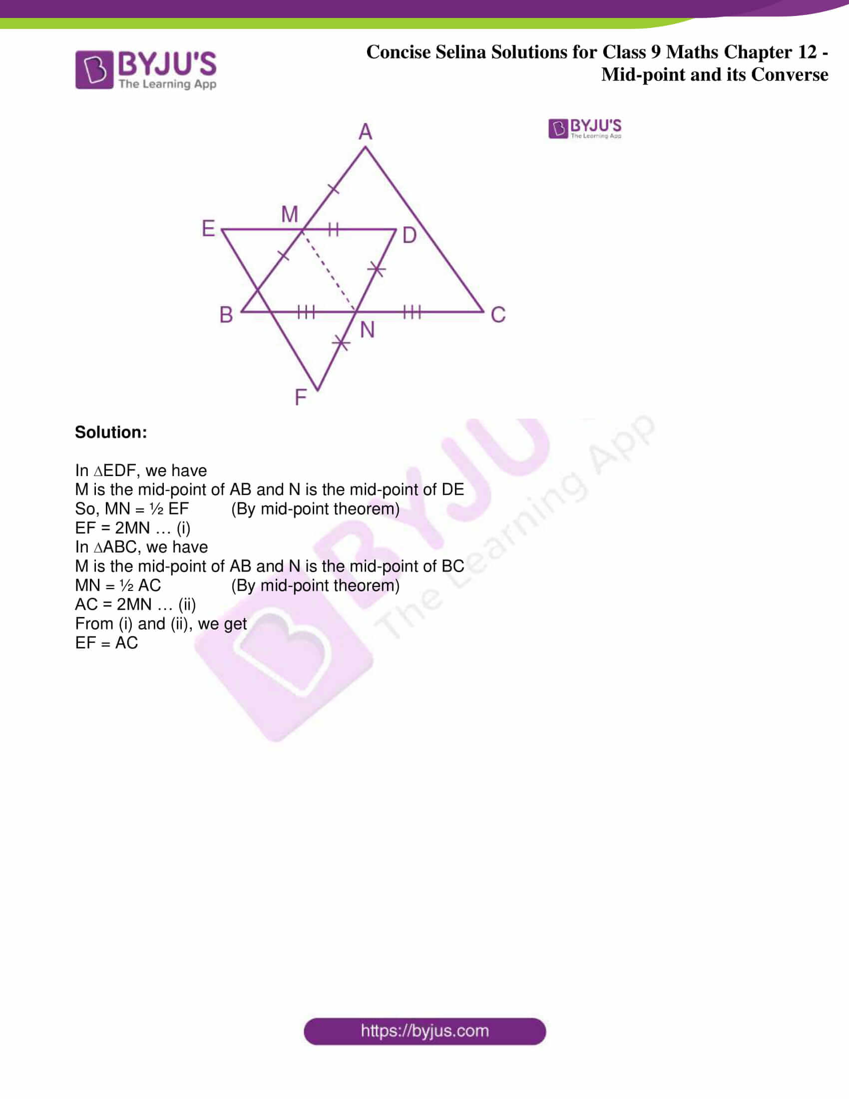 icse class 9 jun8 maths selina solutions chapter 12 midpoint and its converse 14