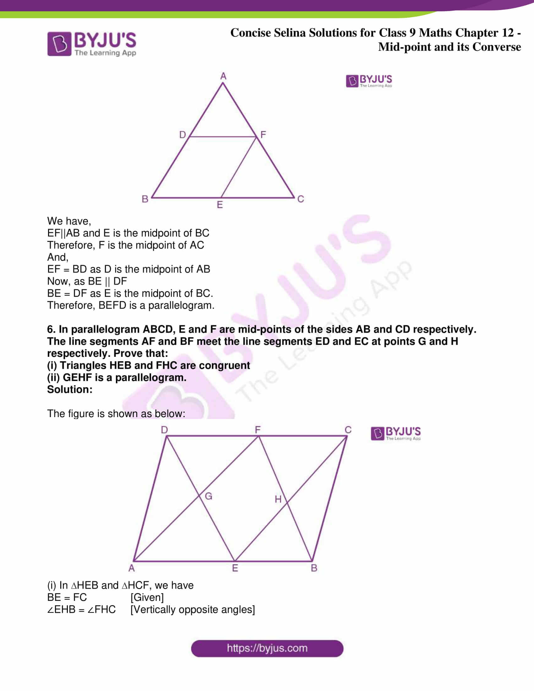 icse class 9 jun8 maths selina solutions chapter 12 midpoint and its converse 19