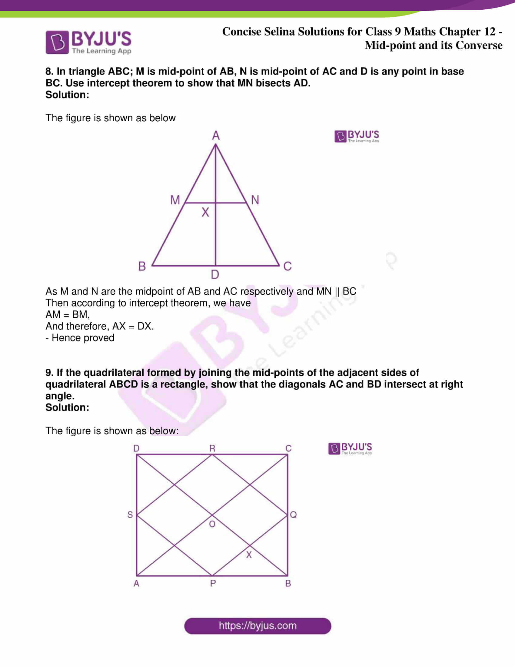 icse class 9 jun8 maths selina solutions chapter 12 midpoint and its converse 21