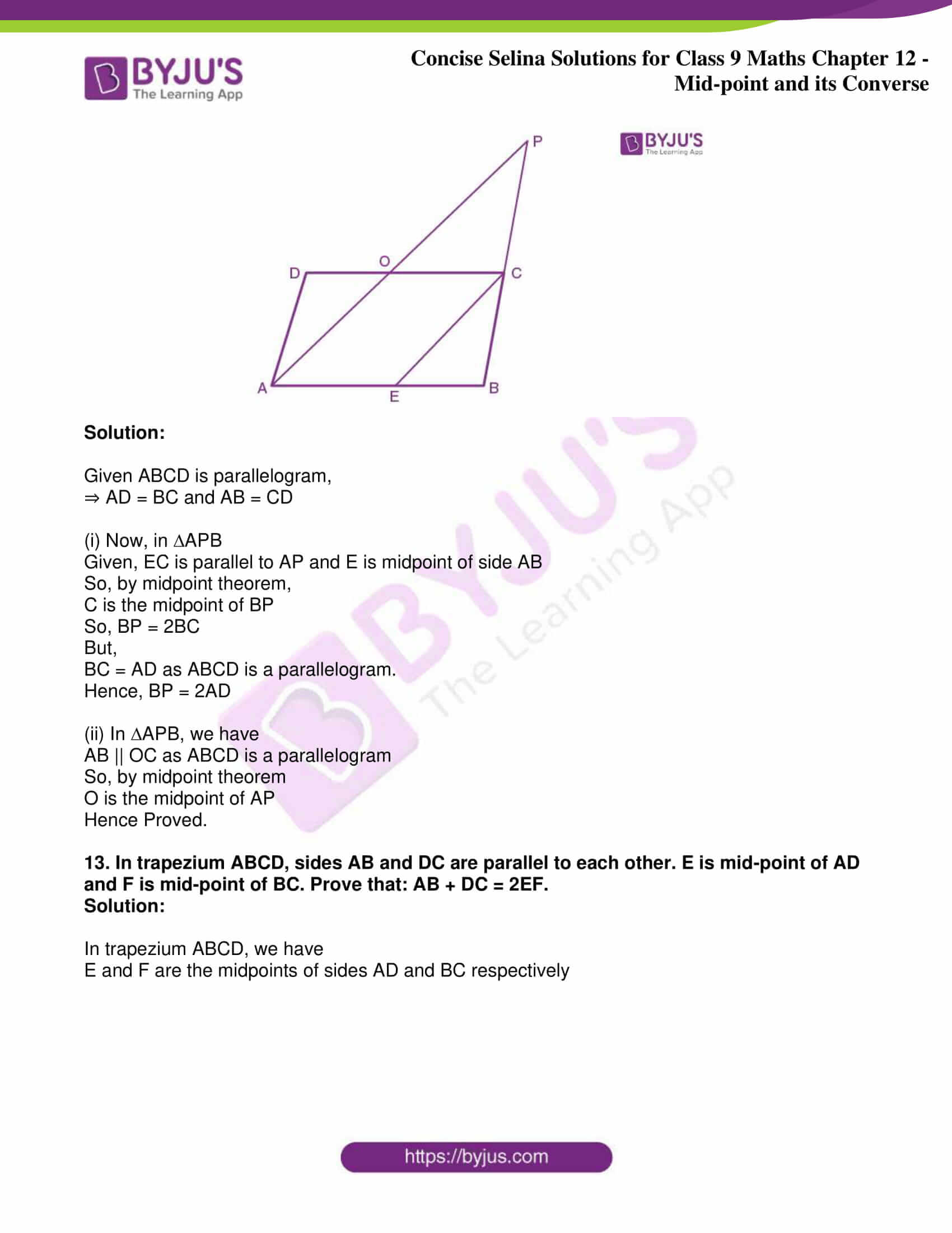icse class 9 jun8 maths selina solutions chapter 12 midpoint and its converse 24