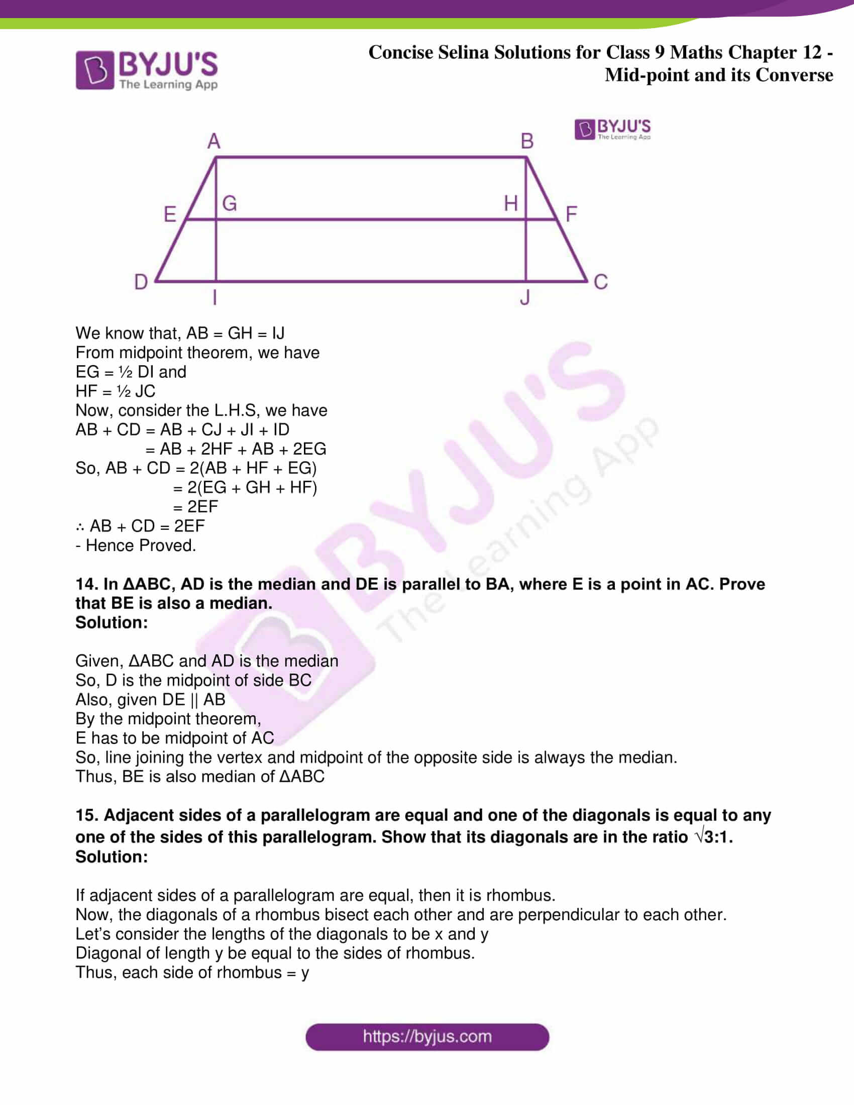 icse class 9 jun8 maths selina solutions chapter 12 midpoint and its converse 25