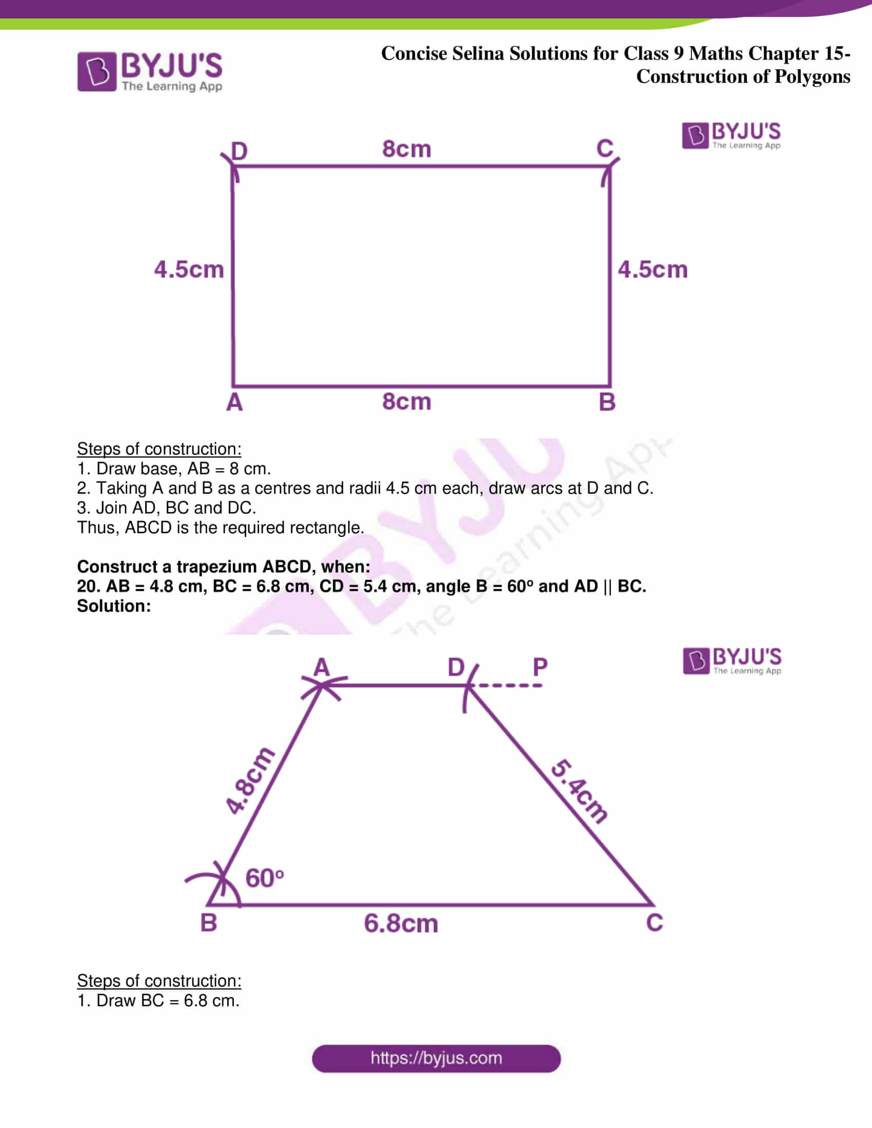 icse class 9 jun8 maths selina solutions chapter 15 construction of polygons 14