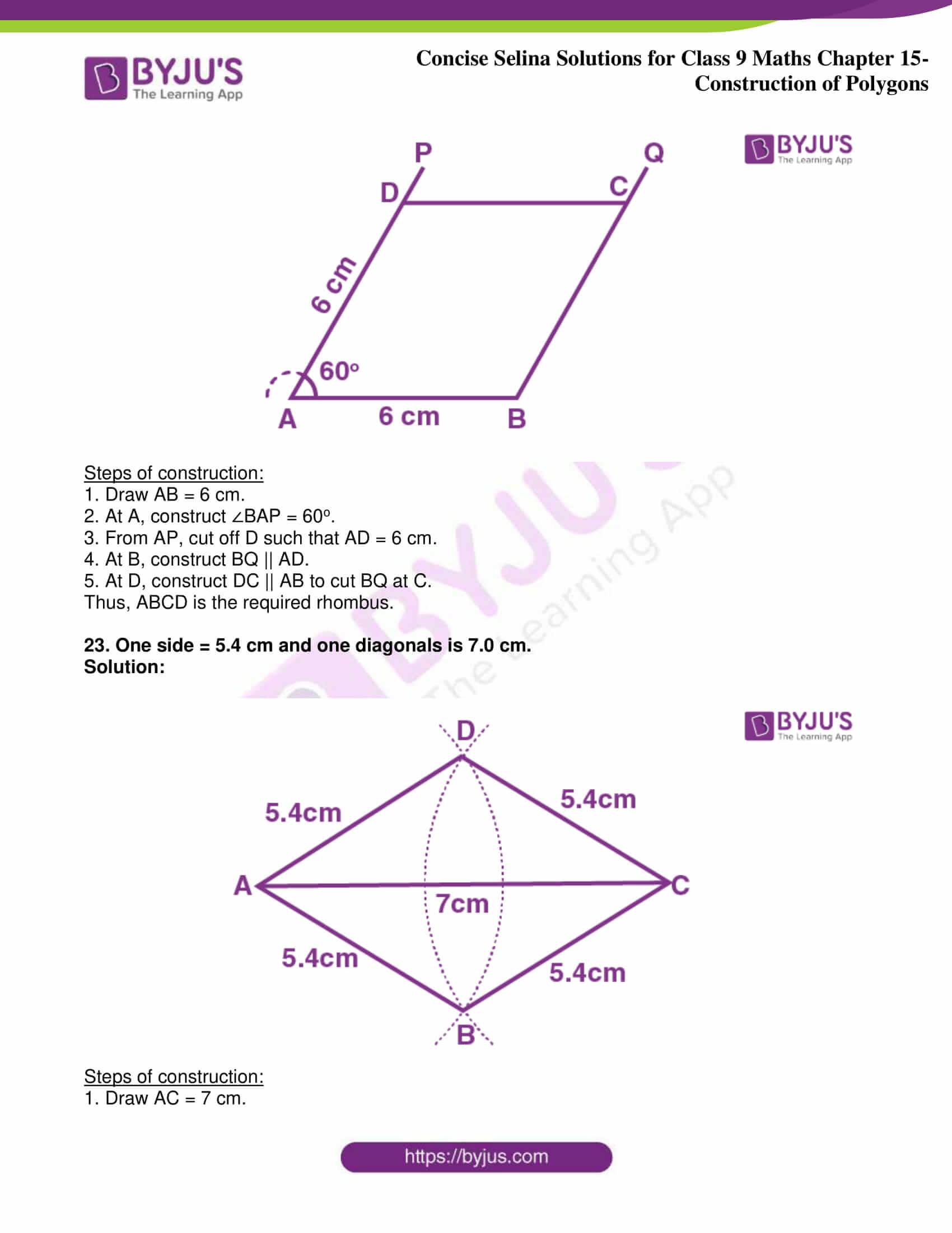 icse class 9 jun8 maths selina solutions chapter 15 construction of polygons 16
