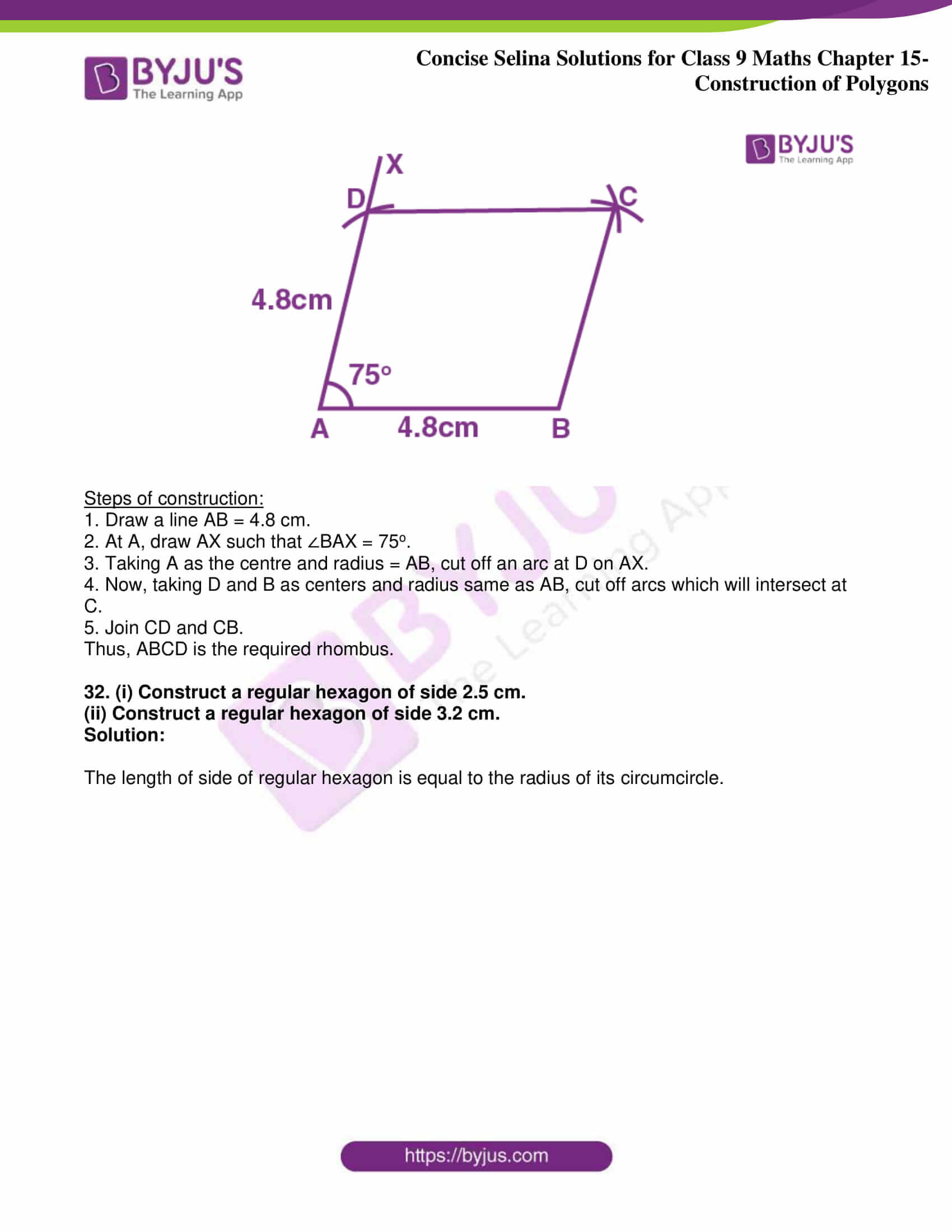 icse class 9 jun8 maths selina solutions chapter 15 construction of polygons 23