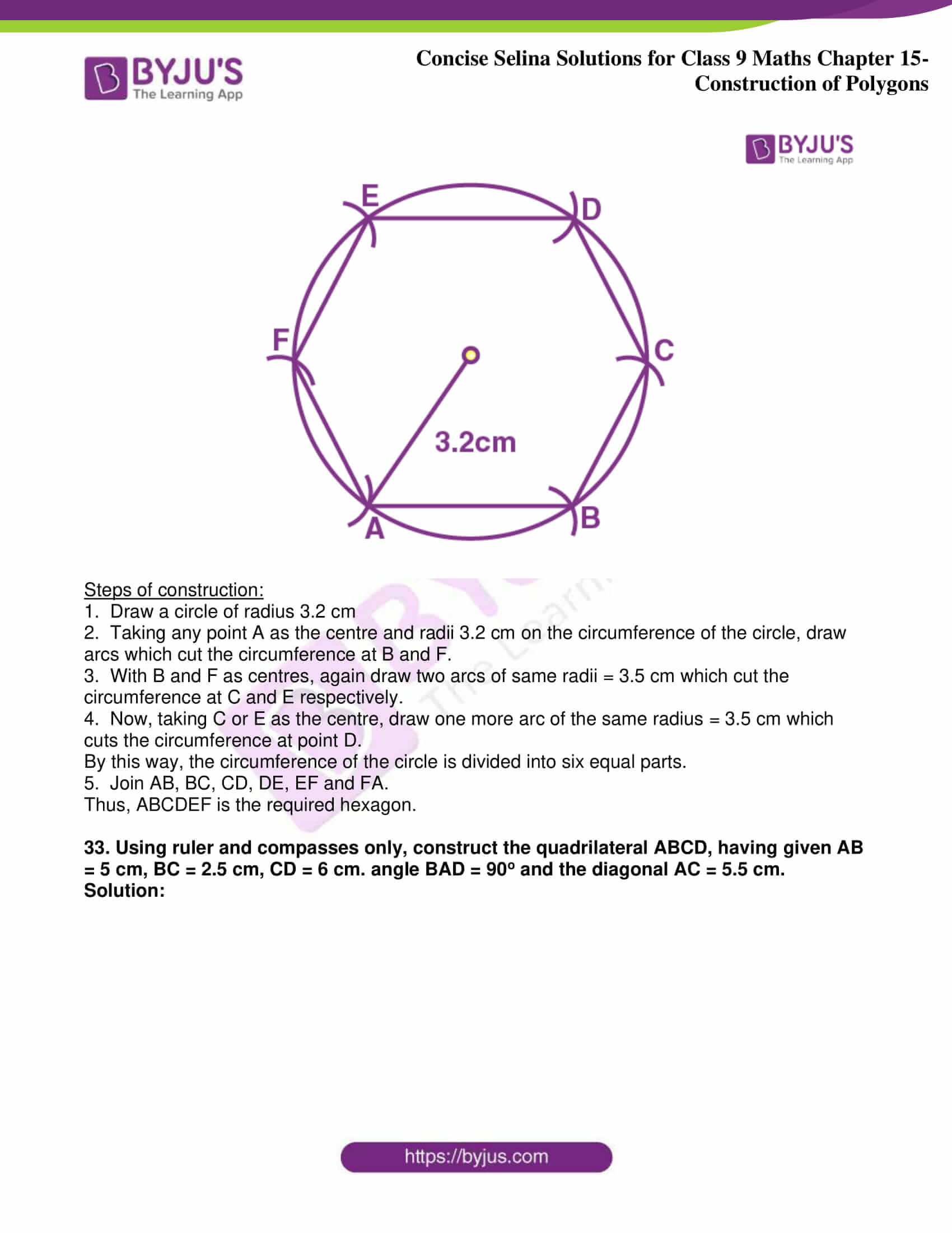 icse class 9 jun8 maths selina solutions chapter 15 construction of polygons 25