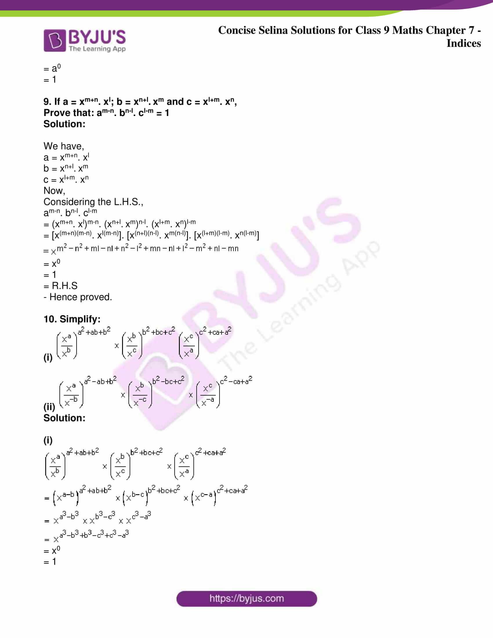 icse class 9 jun8 maths selina solutions chapter 7 indices 07