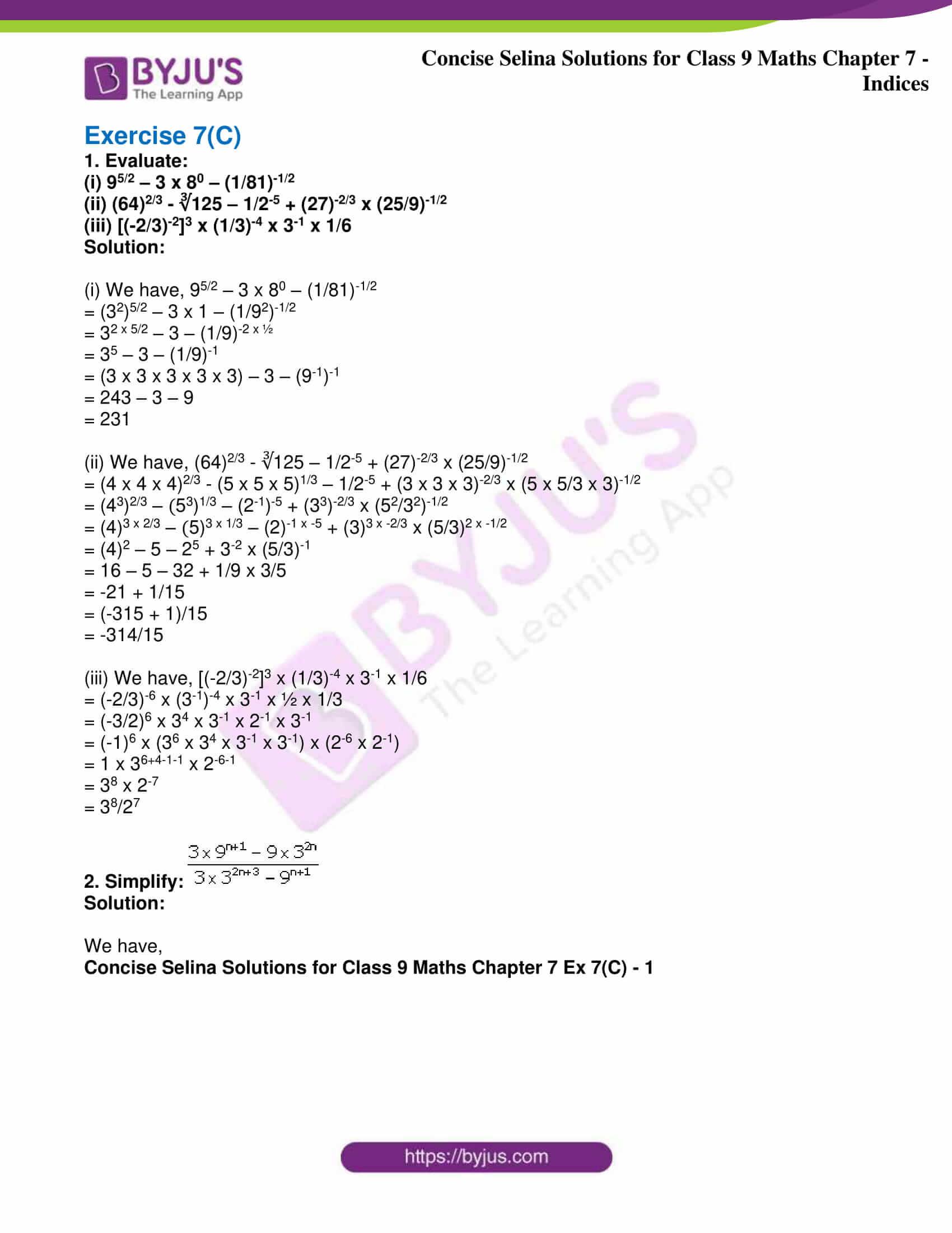 icse class 9 jun8 maths selina solutions chapter 7 indices 21
