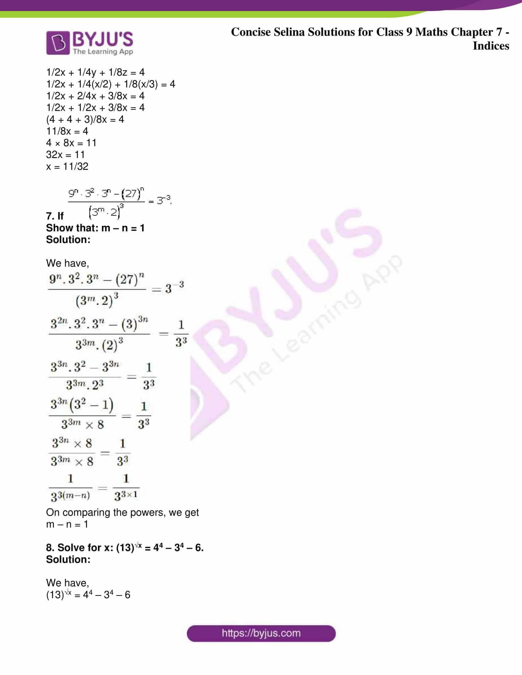 icse class 9 jun8 maths selina solutions chapter 7 indices 24