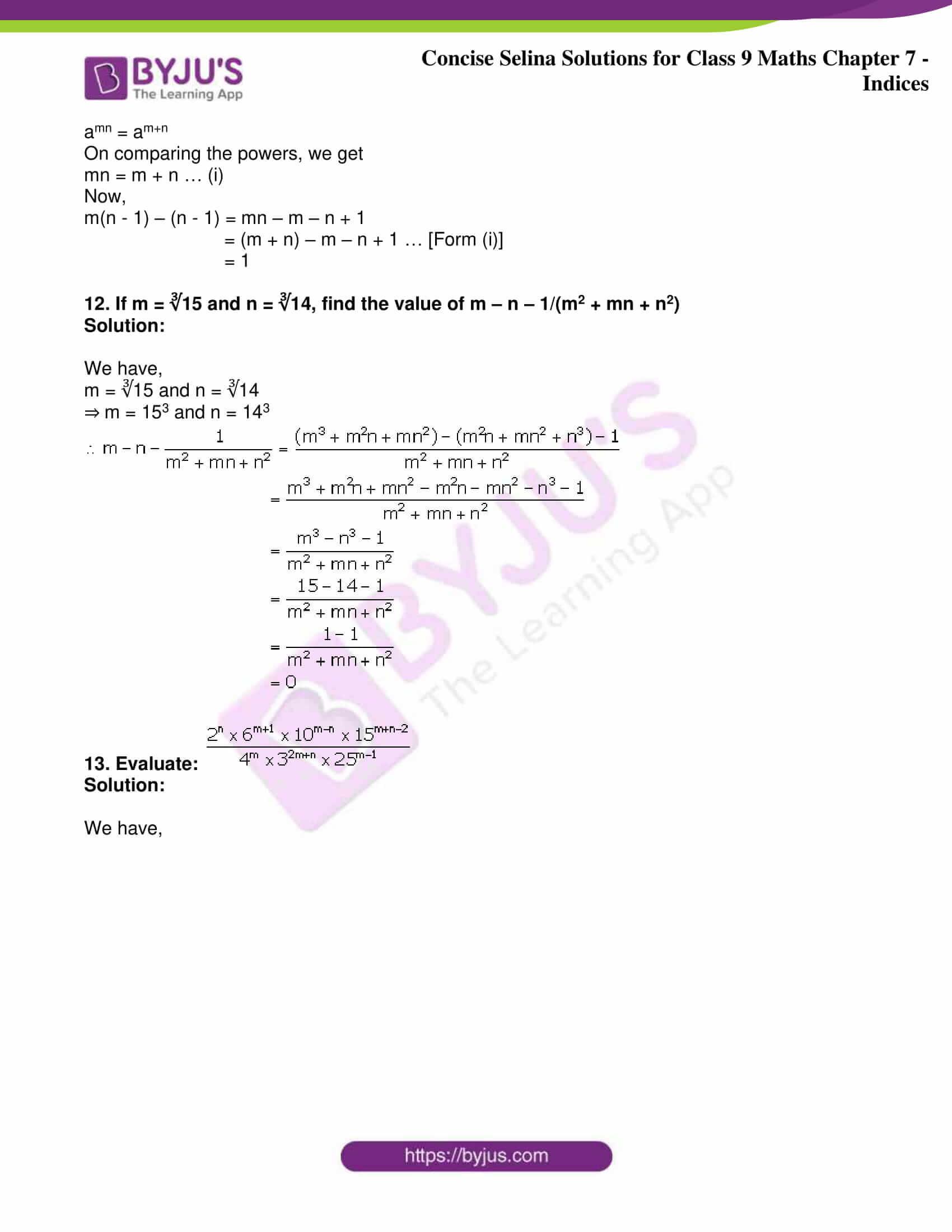 icse class 9 jun8 maths selina solutions chapter 7 indices 26
