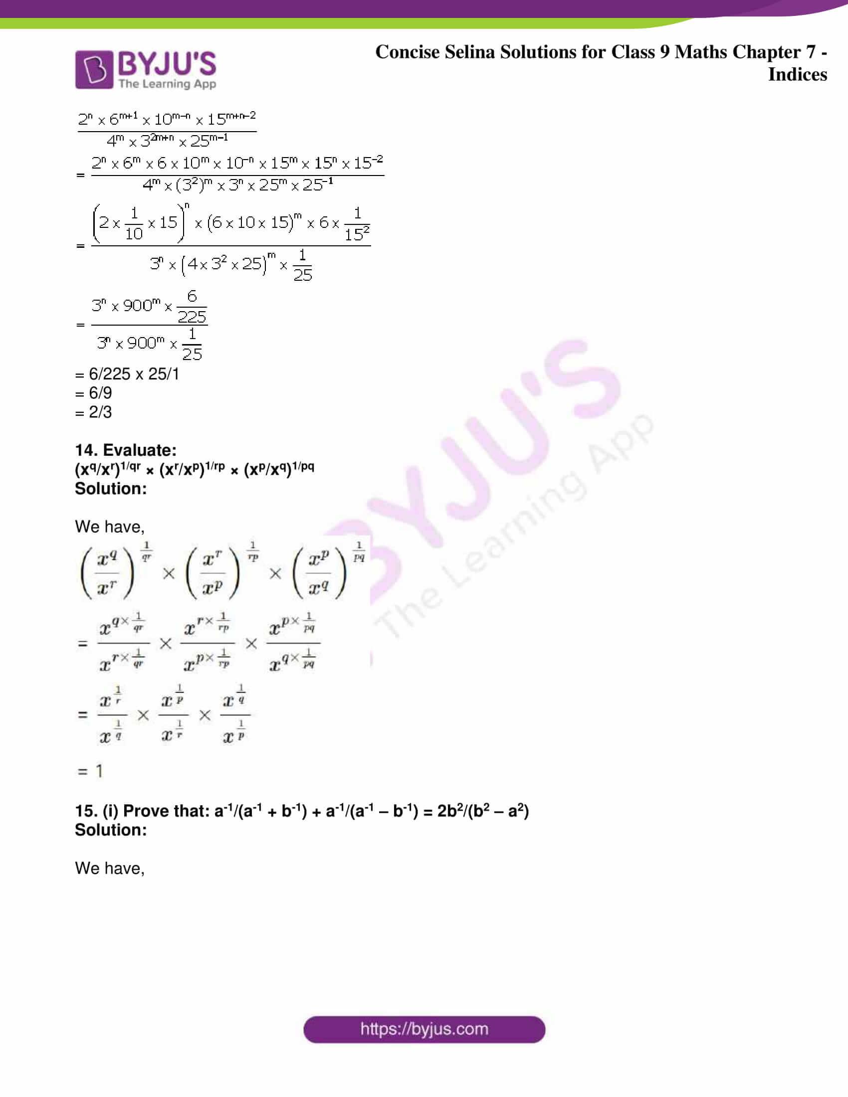 icse class 9 jun8 maths selina solutions chapter 7 indices 27