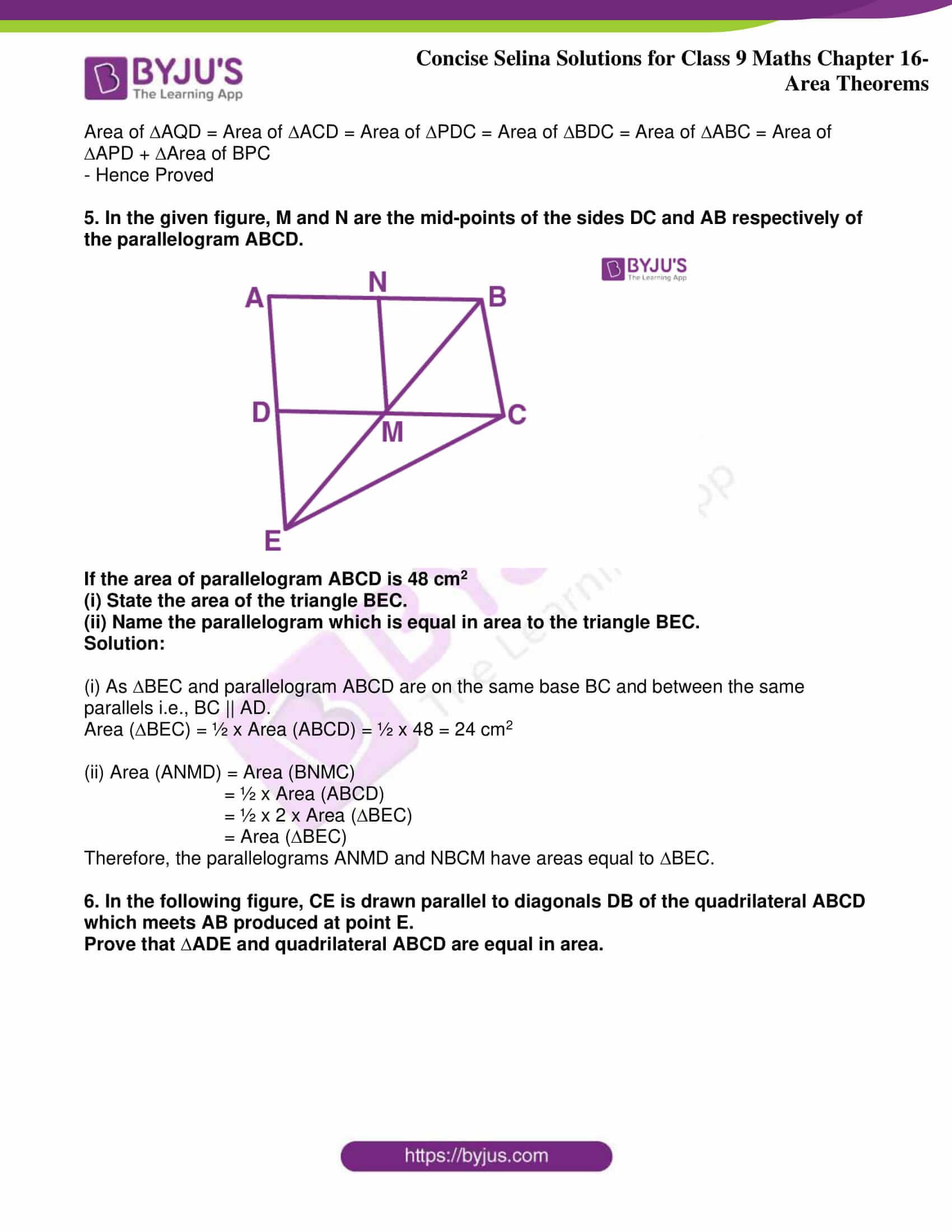 icse class 9 jun9 maths selina solutions chapter 16 area theorems 05