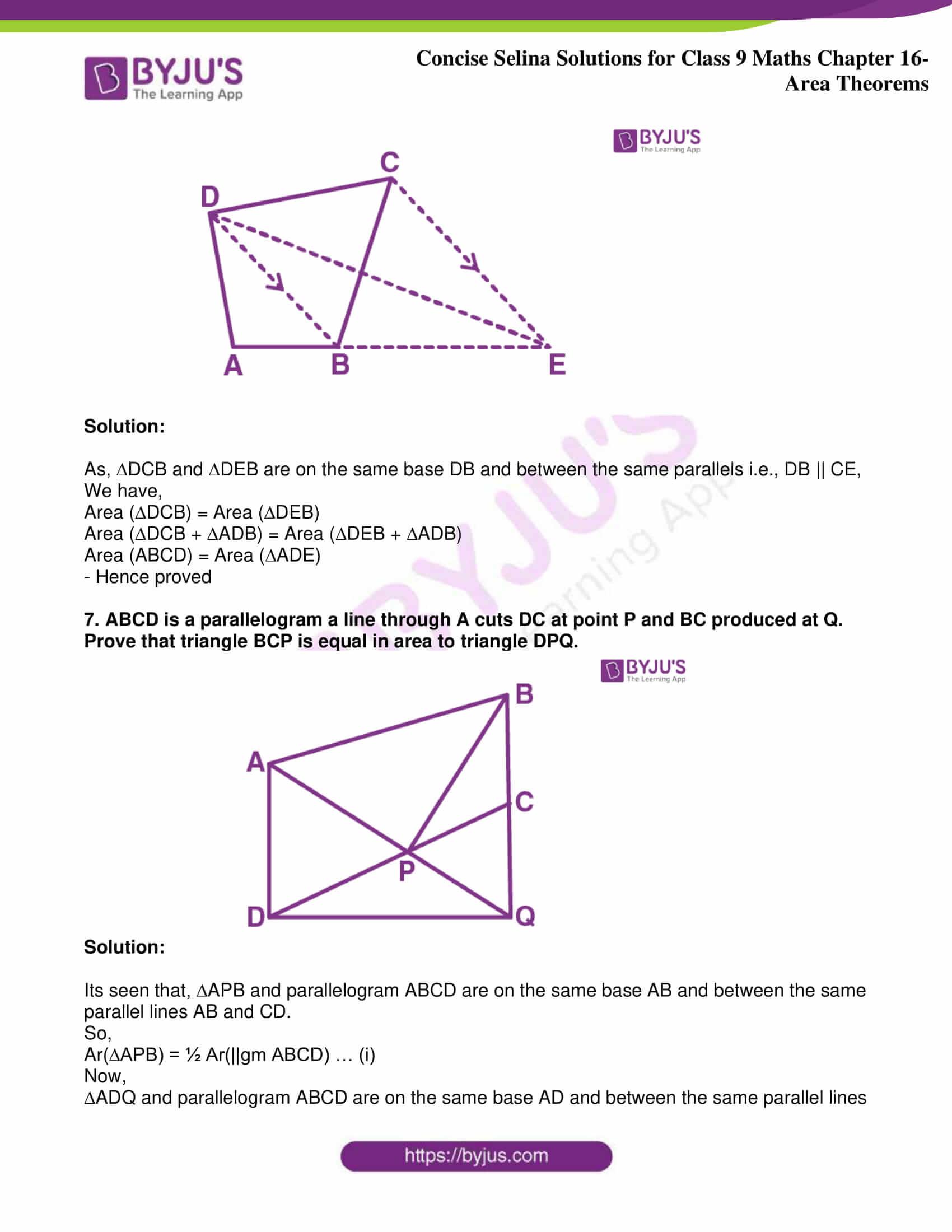 icse class 9 jun9 maths selina solutions chapter 16 area theorems 06
